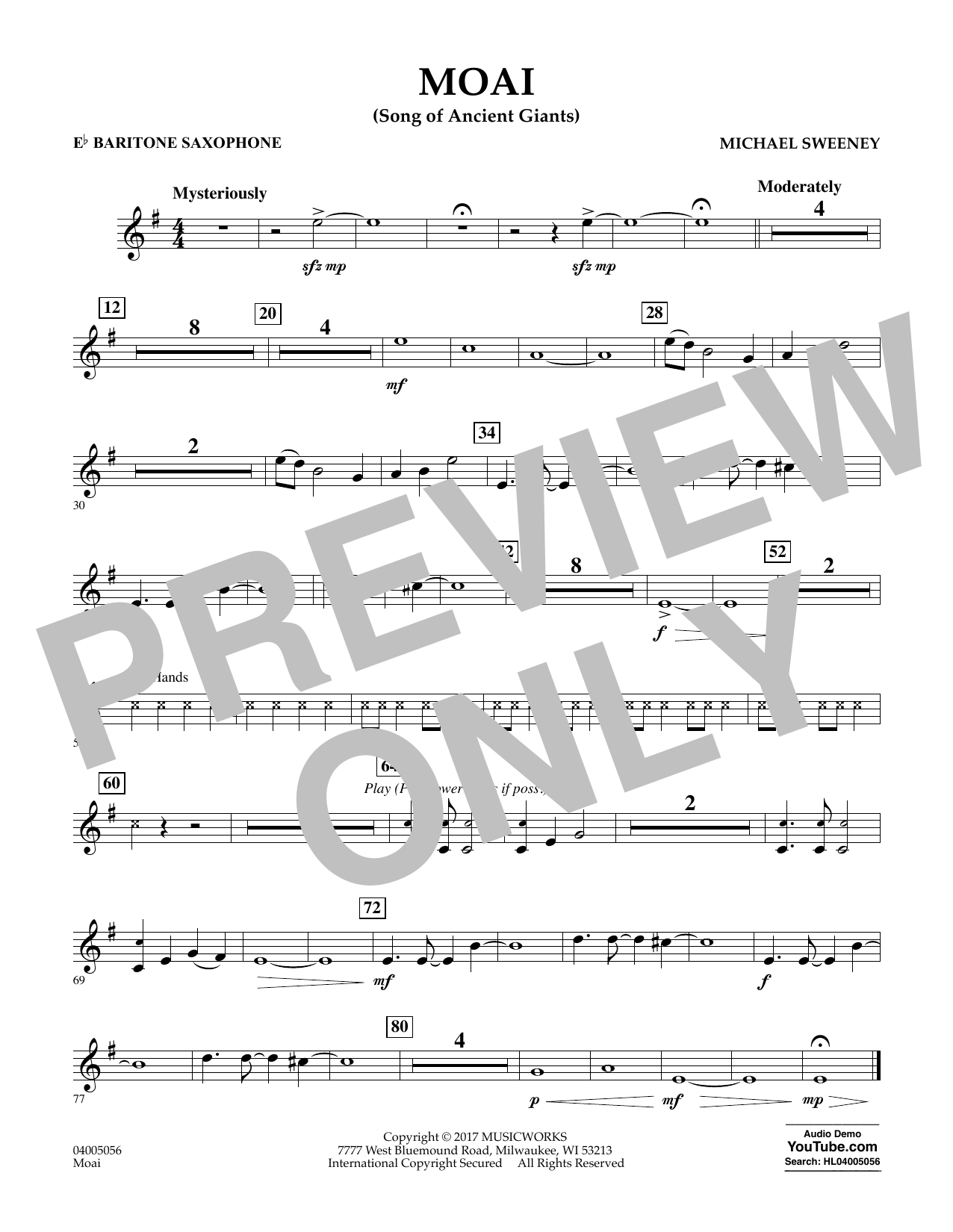 Moai (Songs of Ancient Giants) - Eb Baritone Saxophone (Concert Band)
