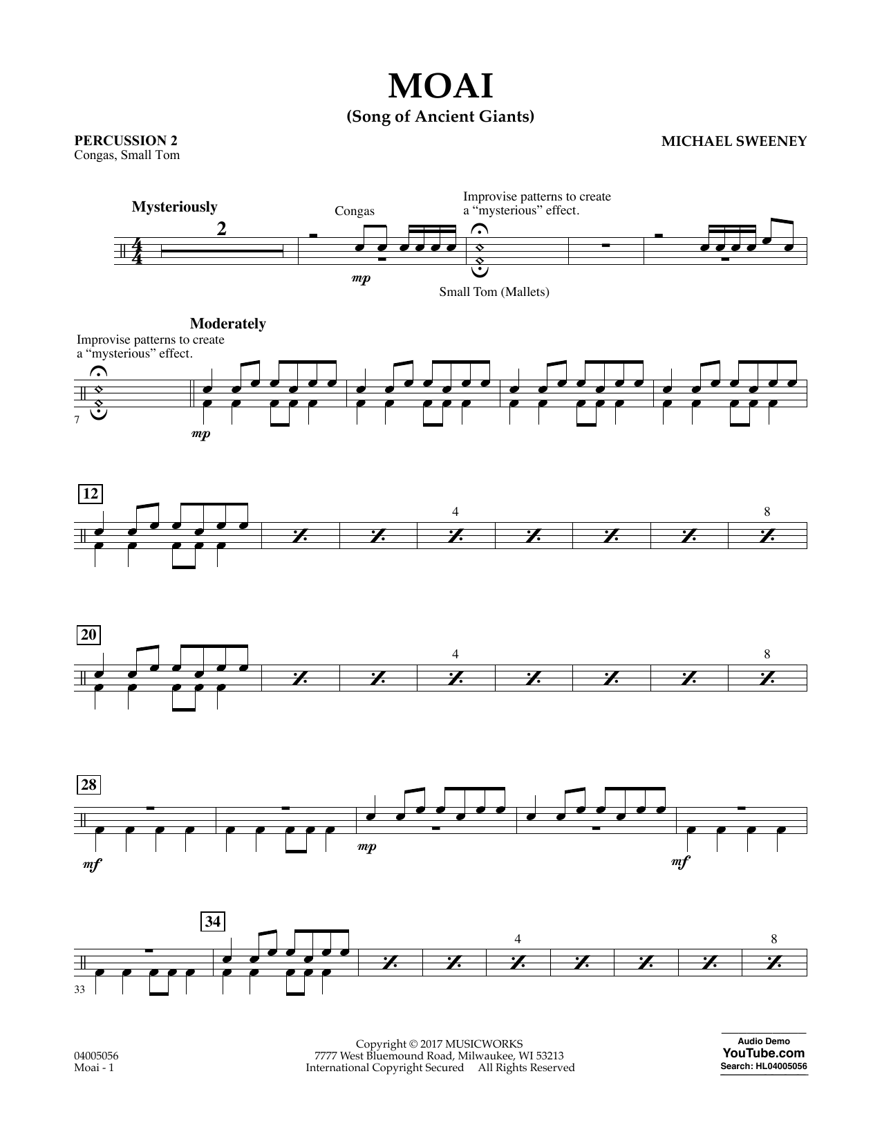 Moai (Songs of Ancient Giants) - Percussion 2 Sheet Music