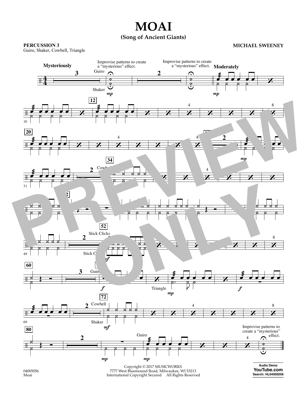 Moai (Songs of Ancient Giants) - Percussion 3 Sheet Music