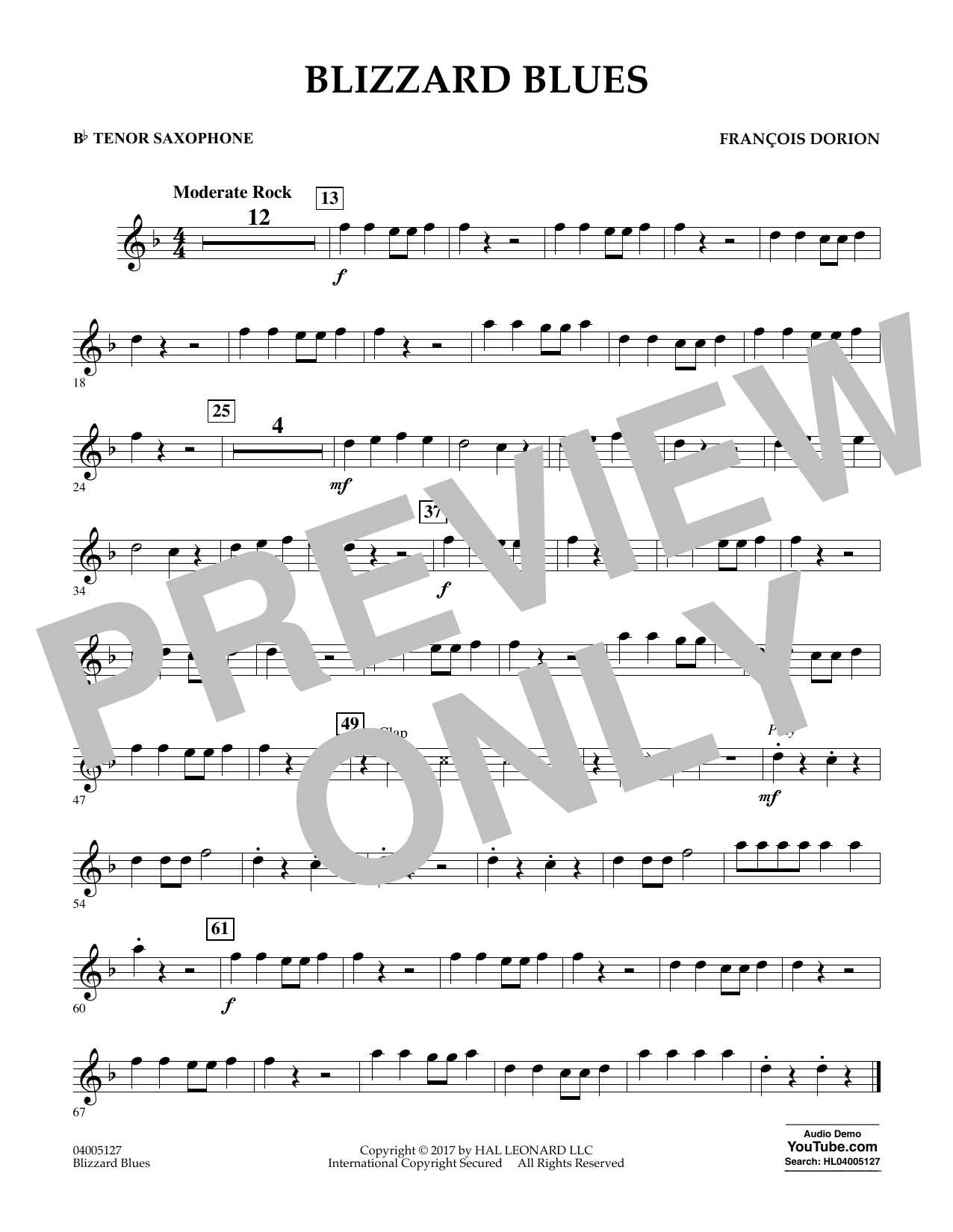 Blizzard Blues - Bb Tenor Saxophone Sheet Music