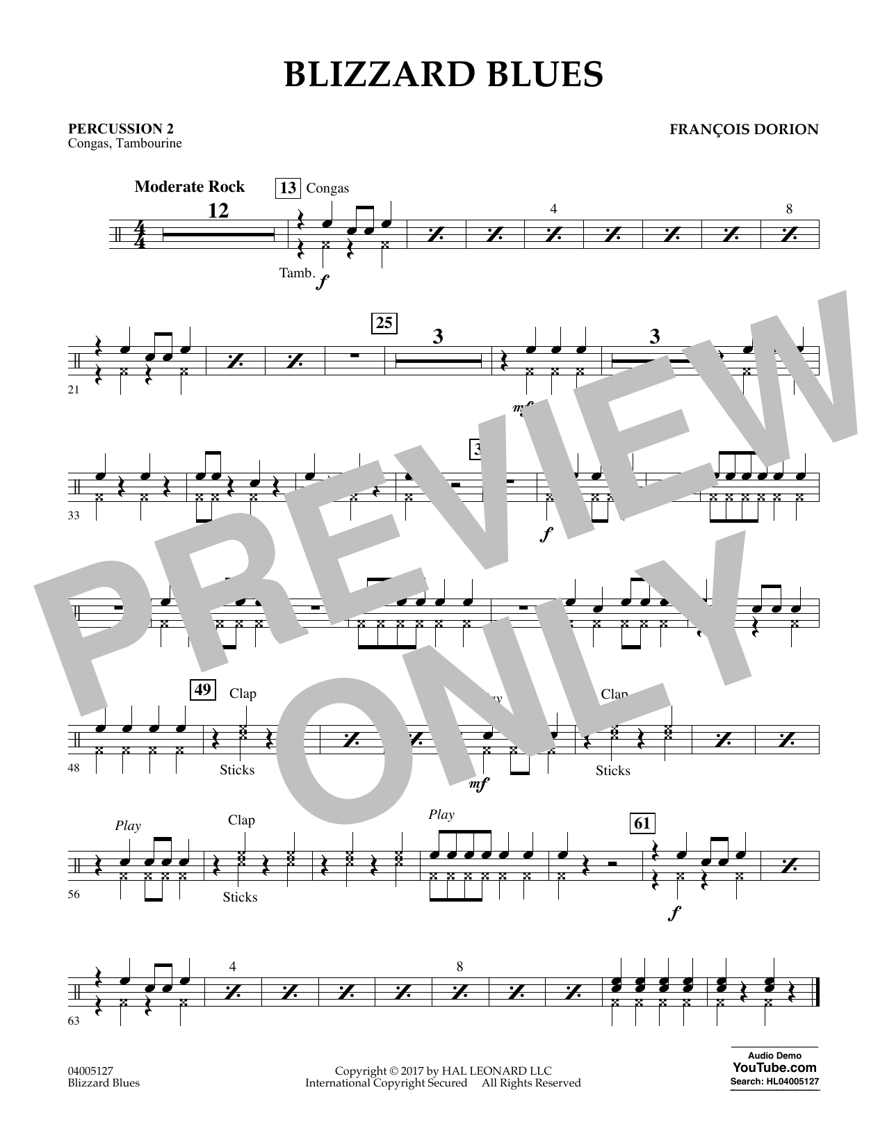 Blizzard Blues - Percussion 2 Sheet Music