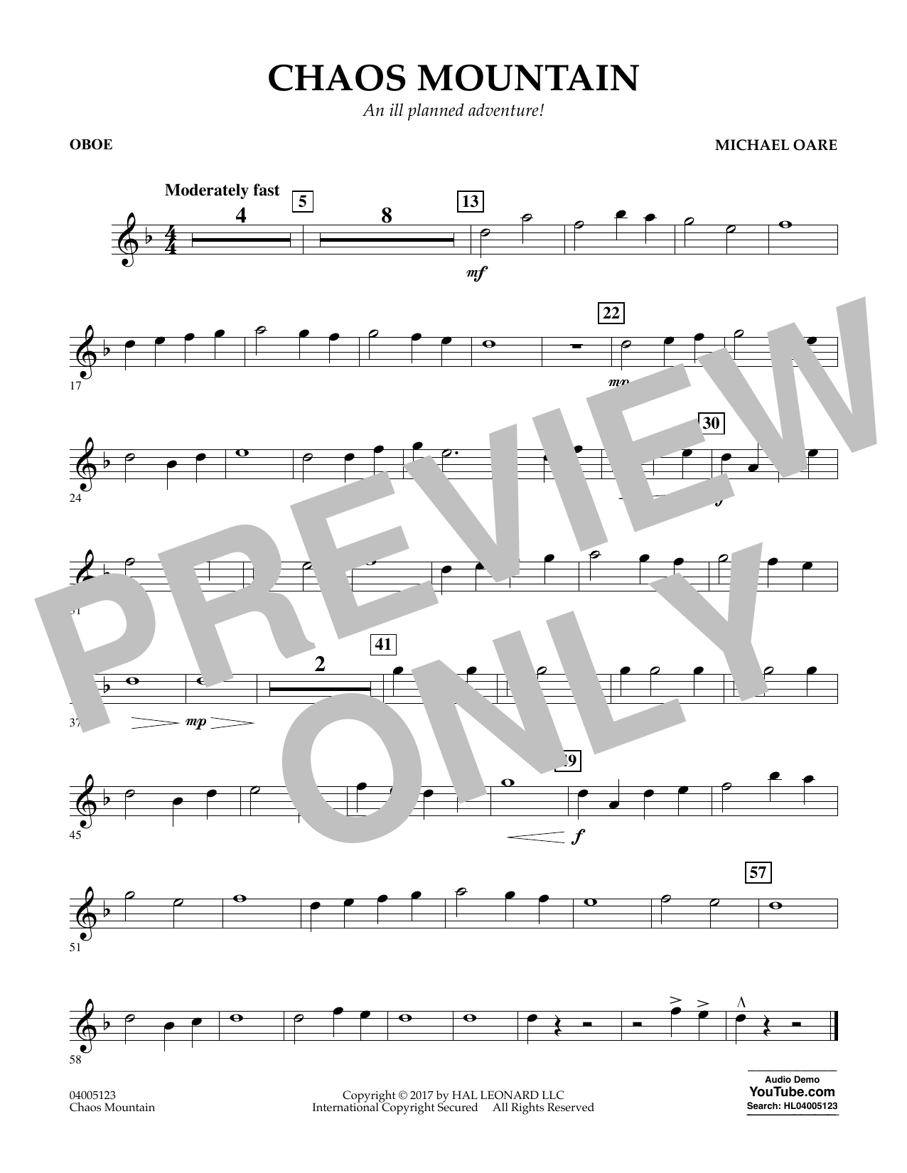 Chaos Mountain - Oboe Sheet Music