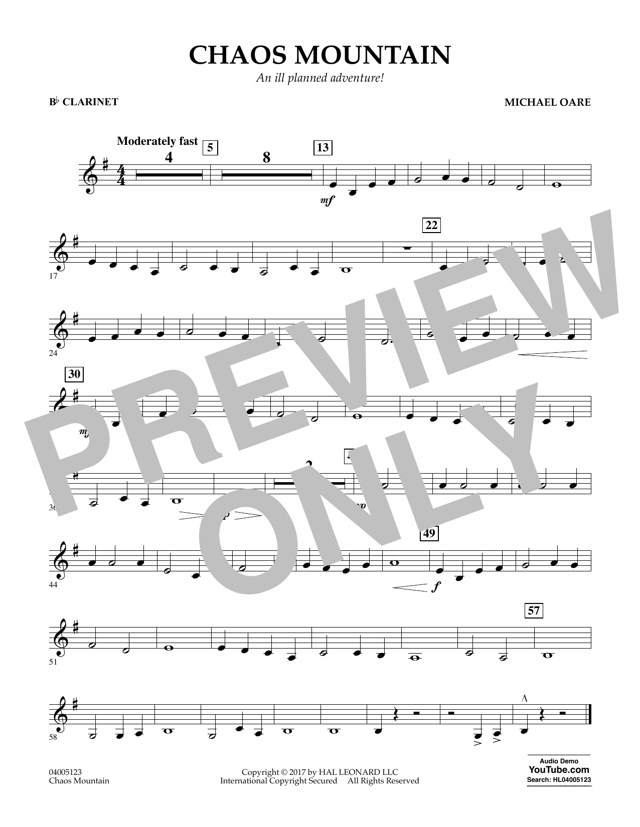 Chaos Mountain - Bb Clarinet Sheet Music