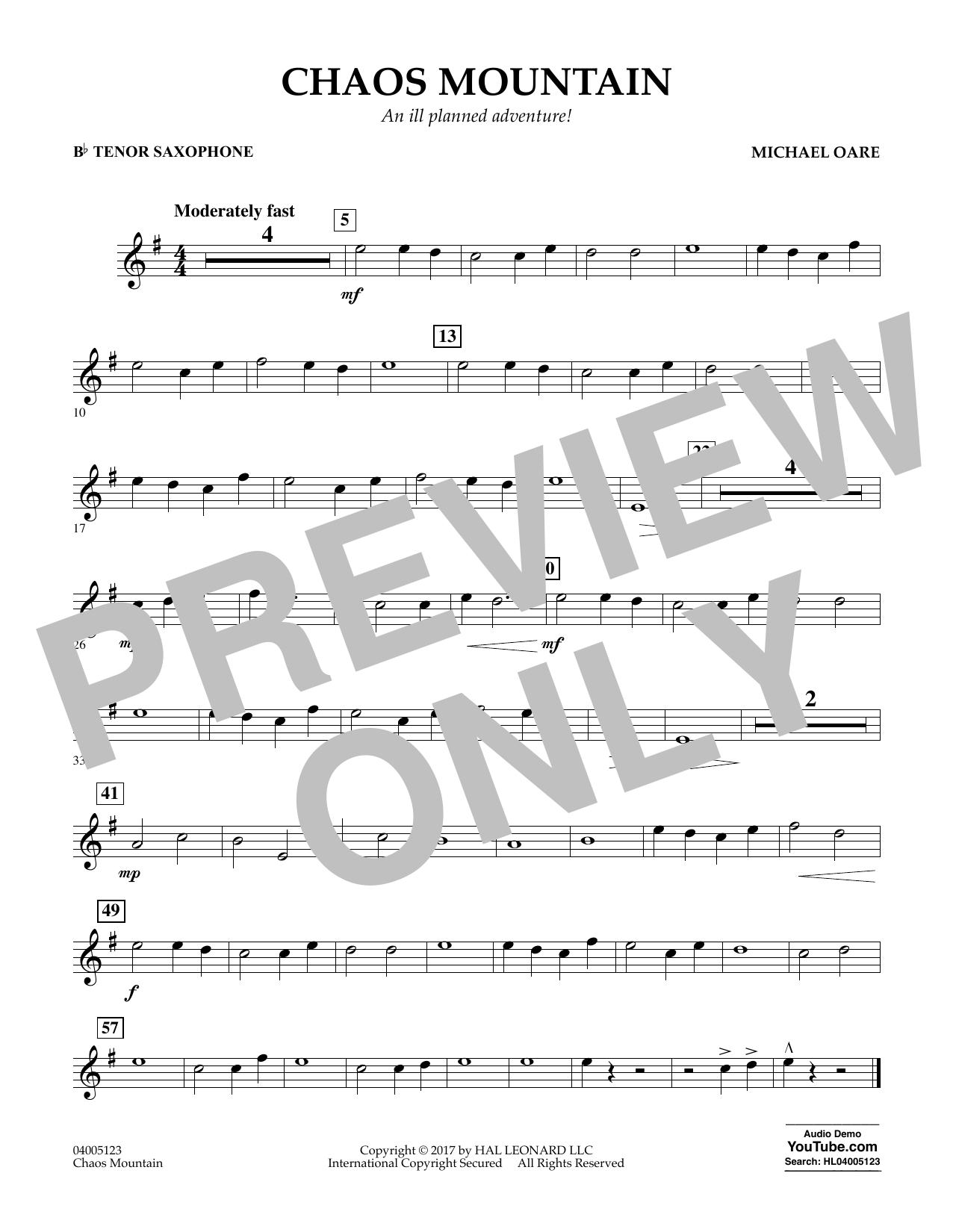 Chaos Mountain - Bb Tenor Saxophone Sheet Music