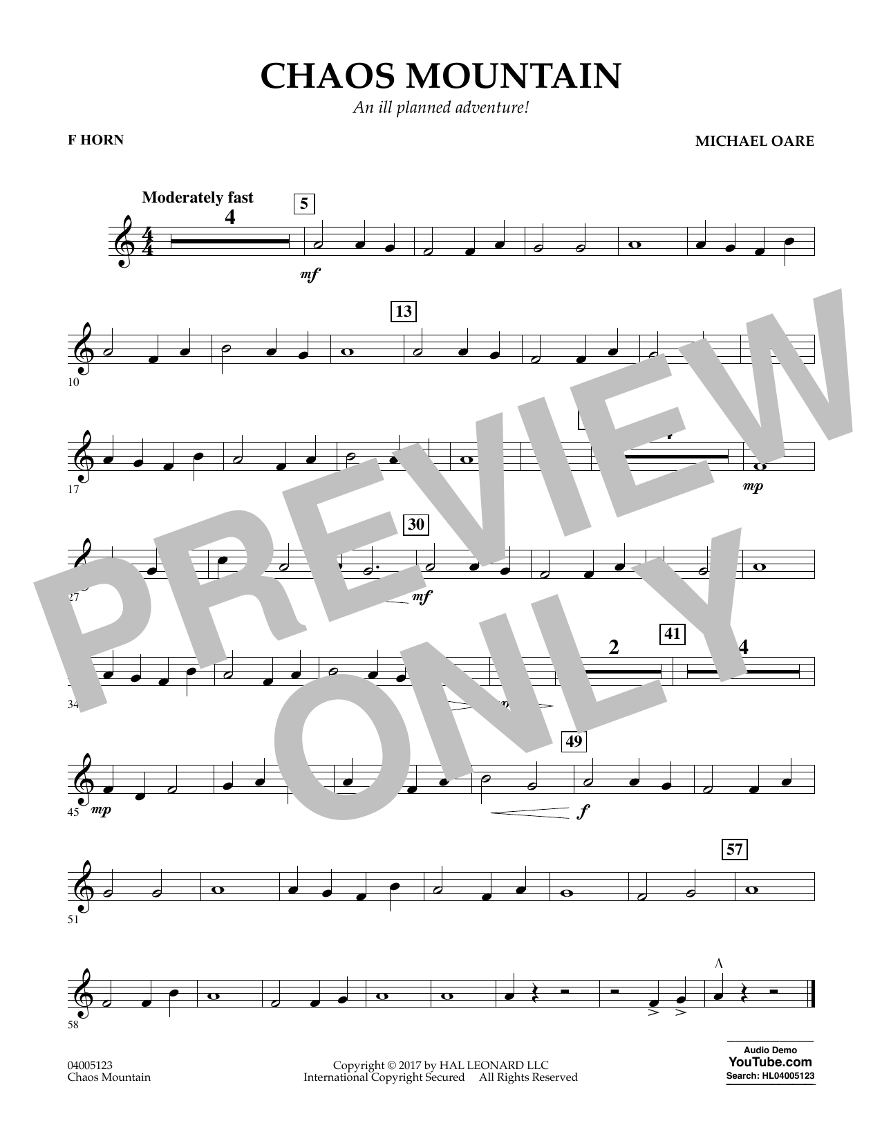 Chaos Mountain - F Horn Sheet Music