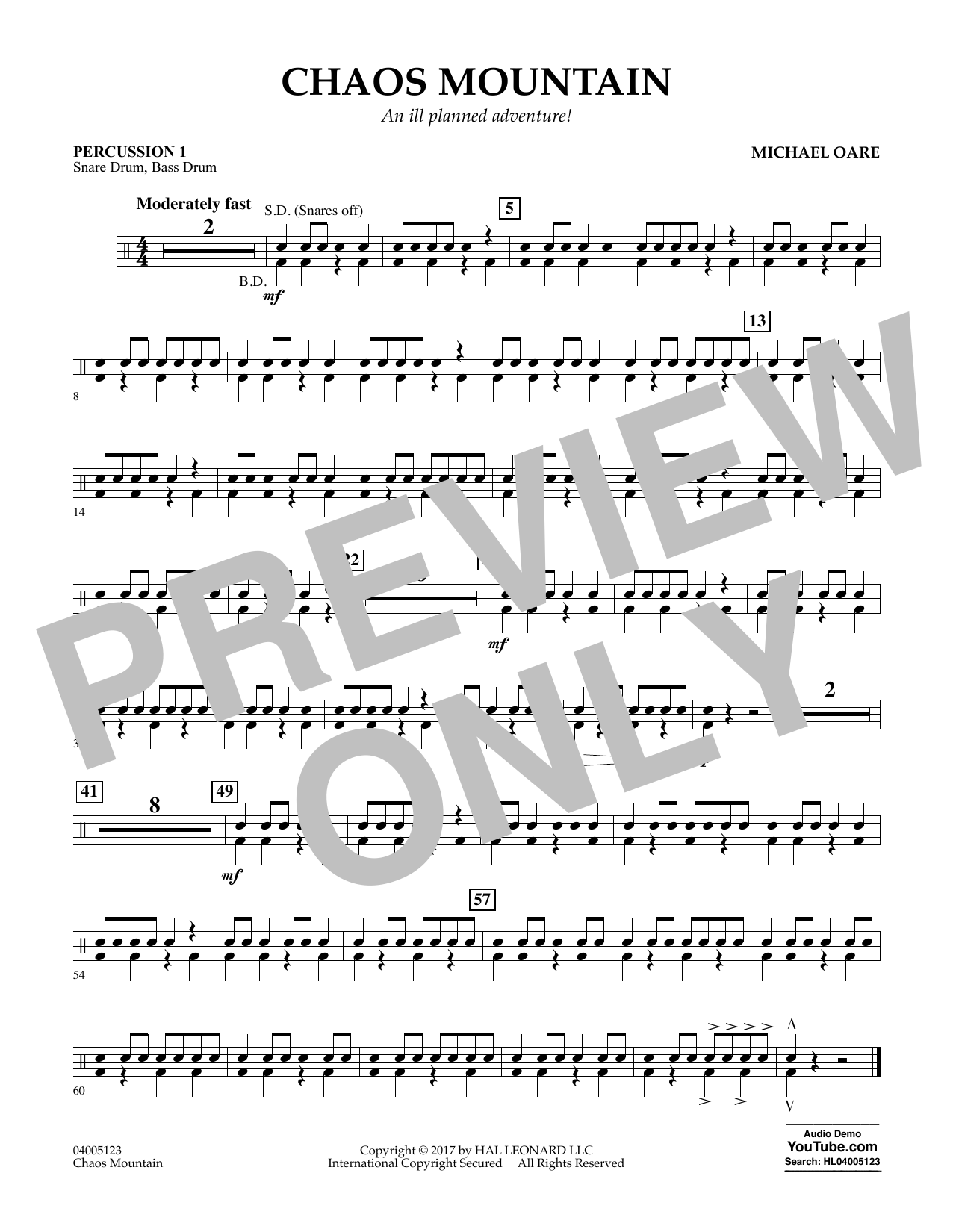 Chaos Mountain - Percussion 1 Sheet Music