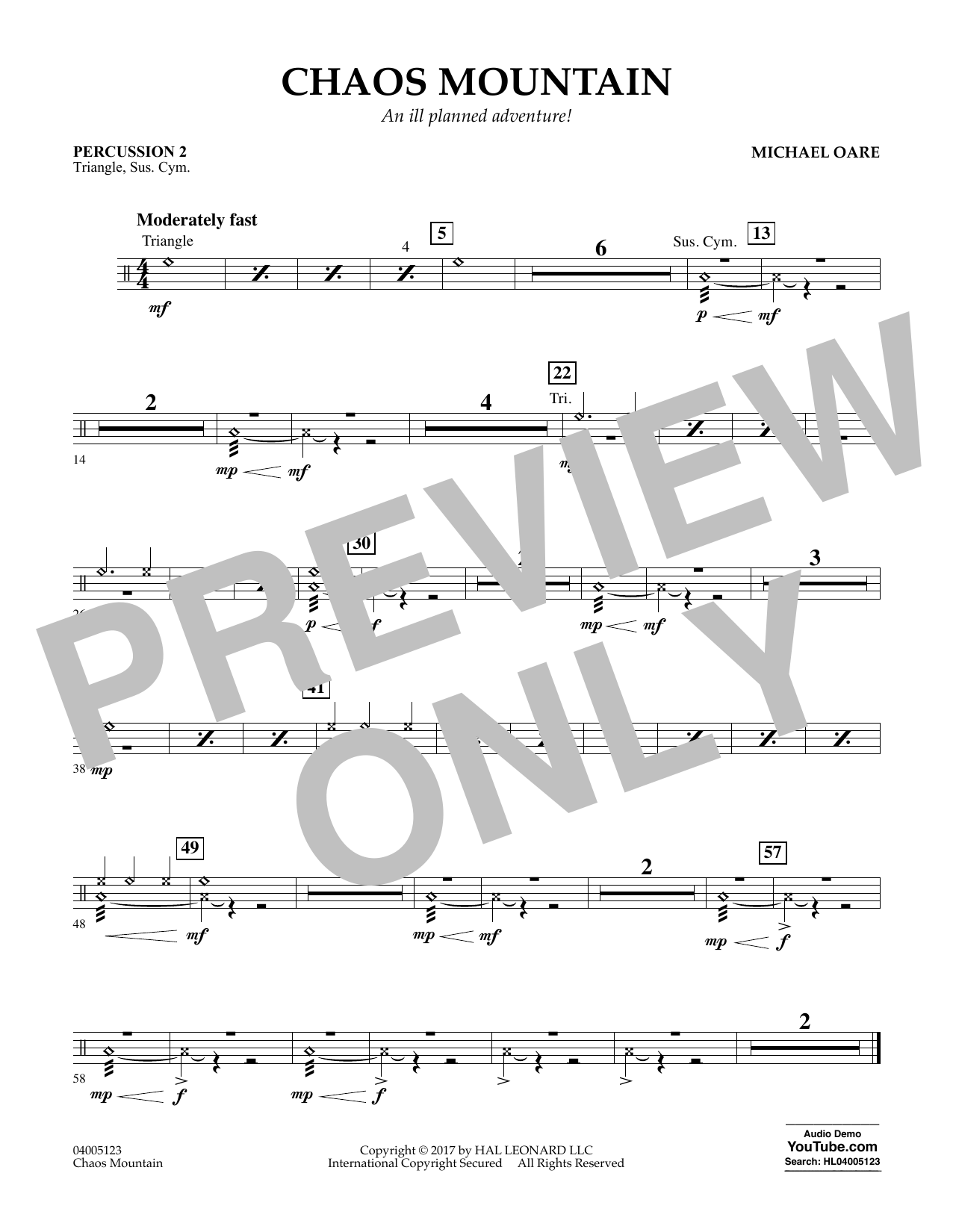Chaos Mountain - Percussion 2 Sheet Music