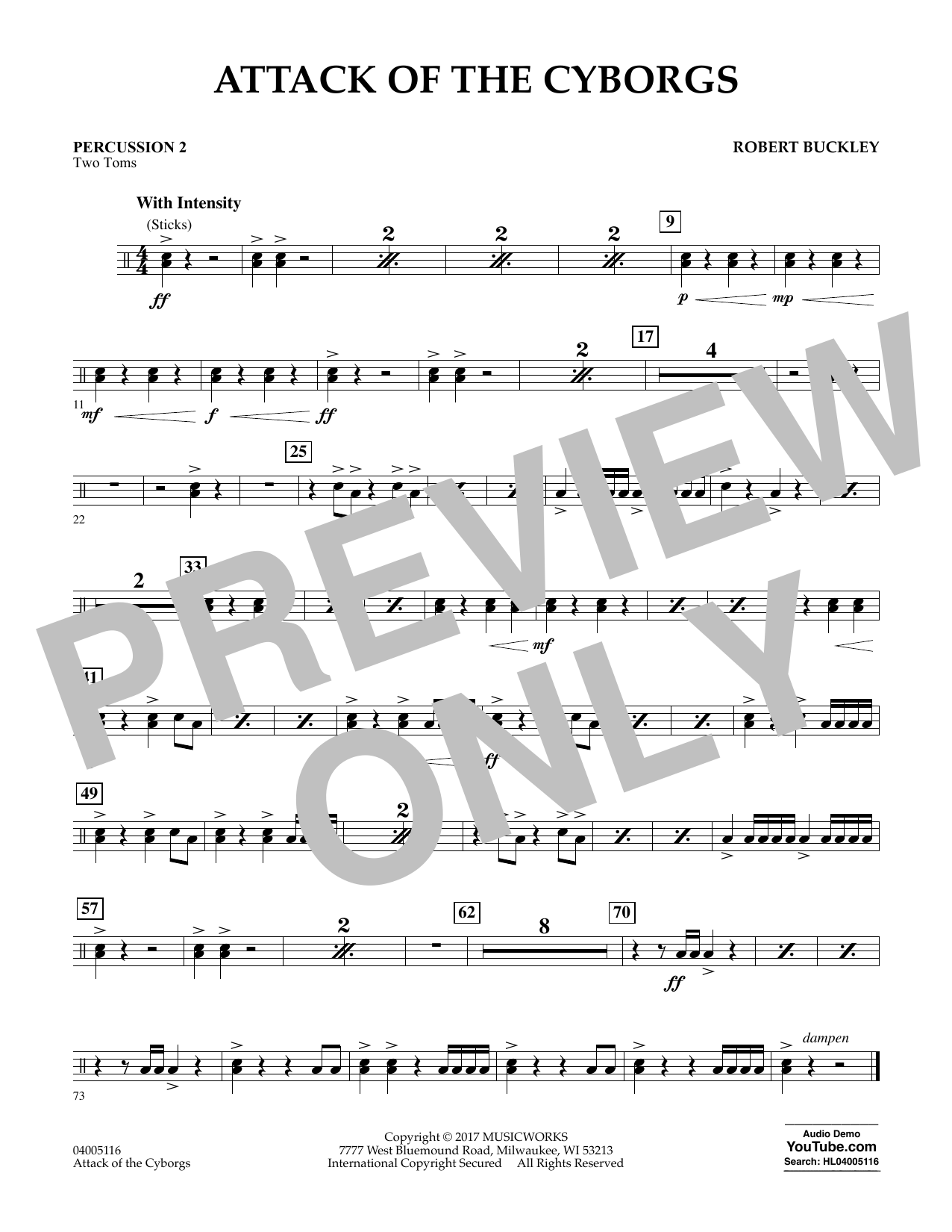 Attack of the Cyborgs - Percussion 2 Sheet Music