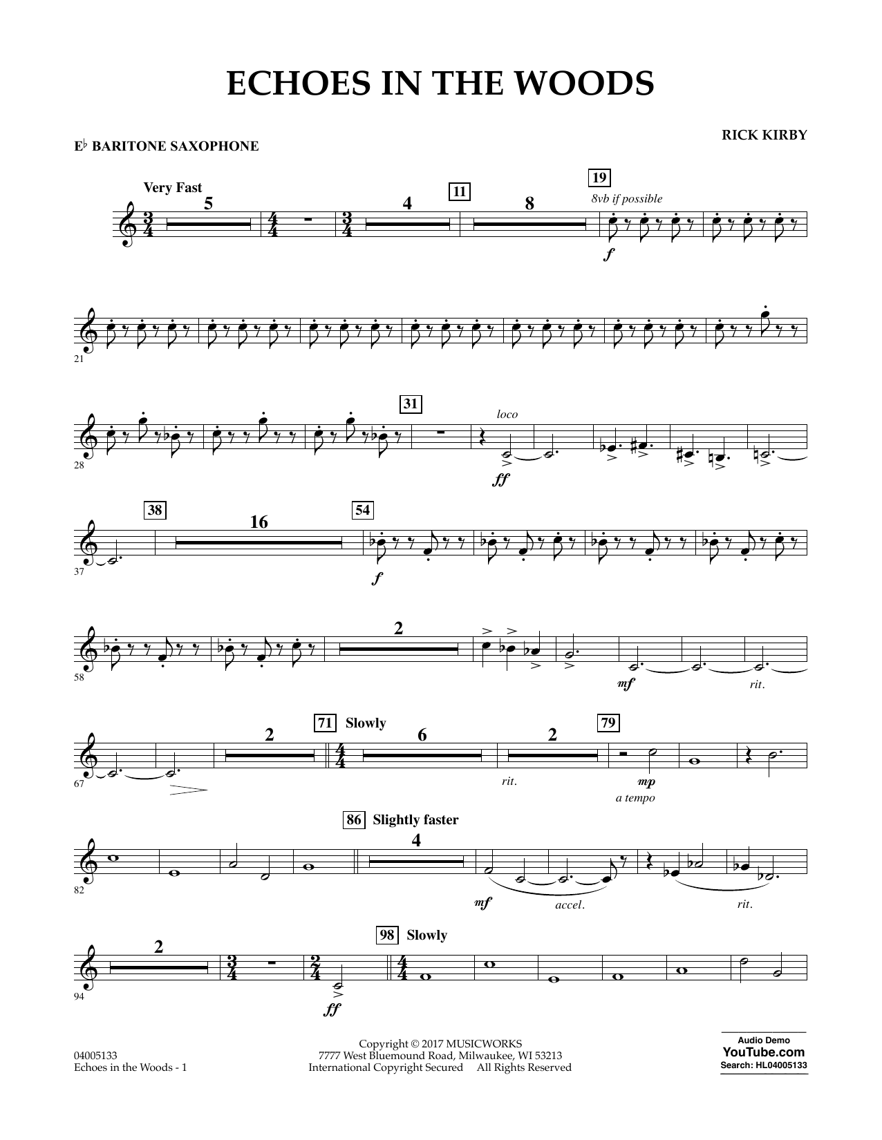 Echoes in the Woods - Eb Baritone Saxophone Sheet Music