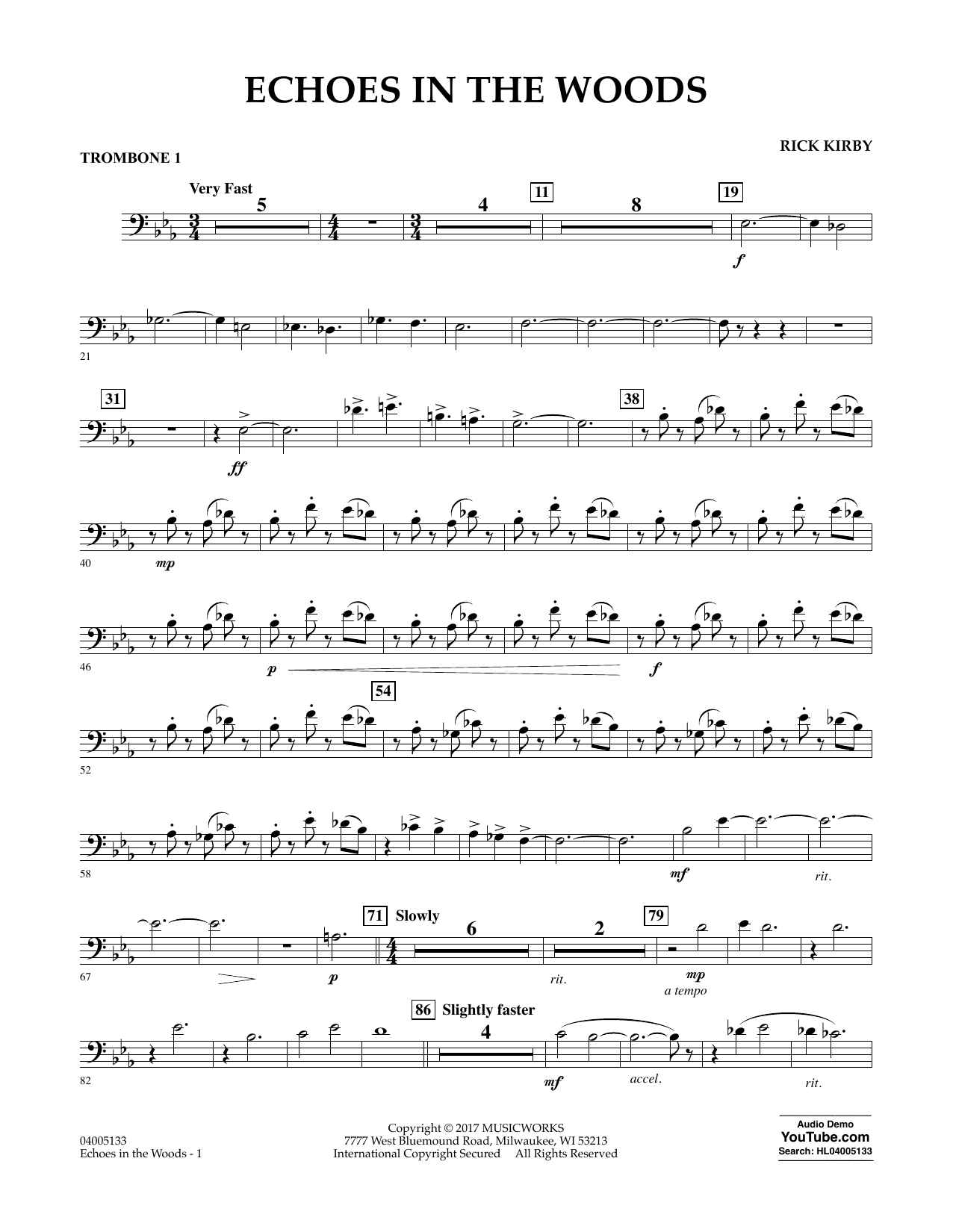 Echoes in the Woods - Trombone 1 Sheet Music