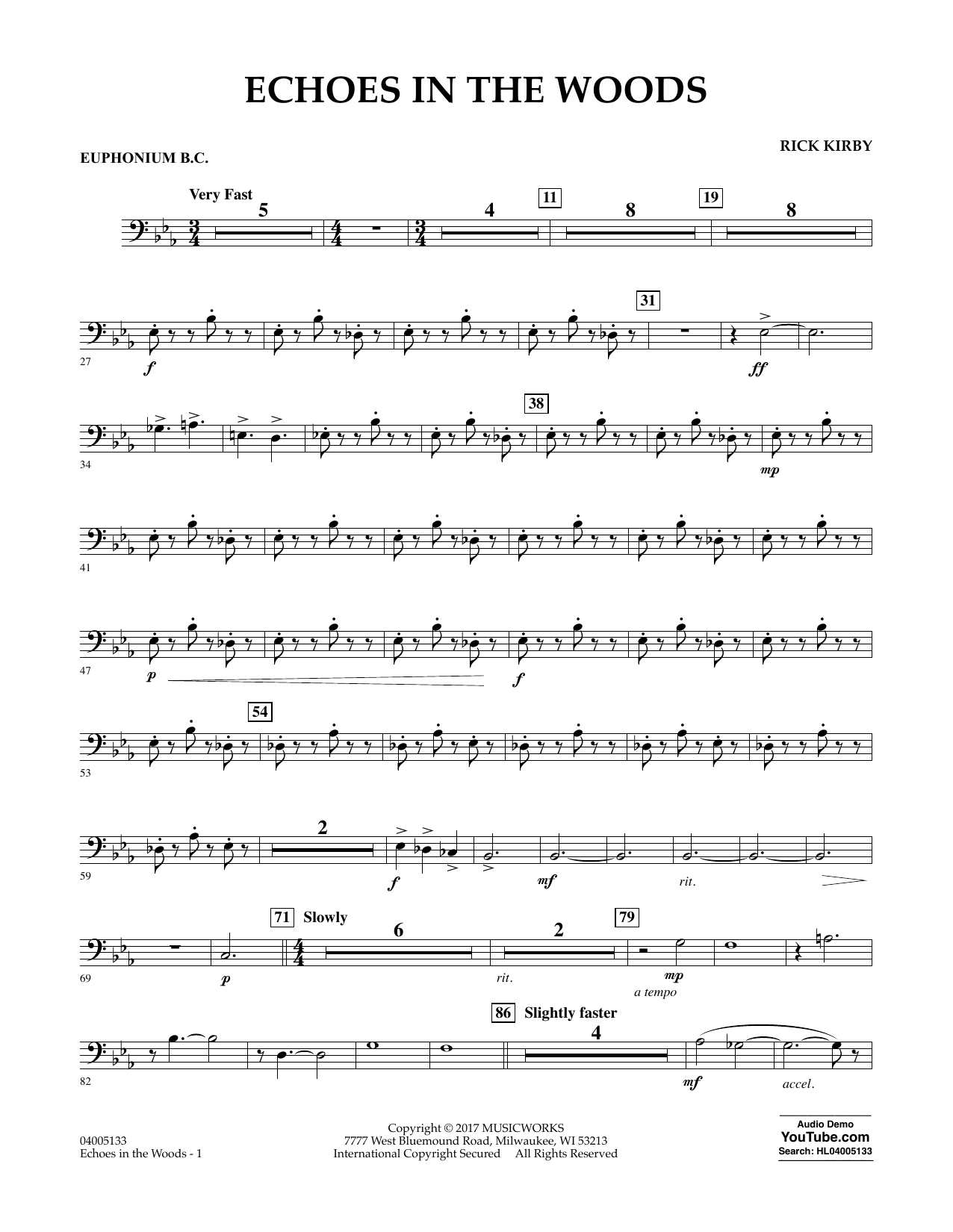 Echoes in the Woods - Euphonium in Bass Clef Partituras Digitales
