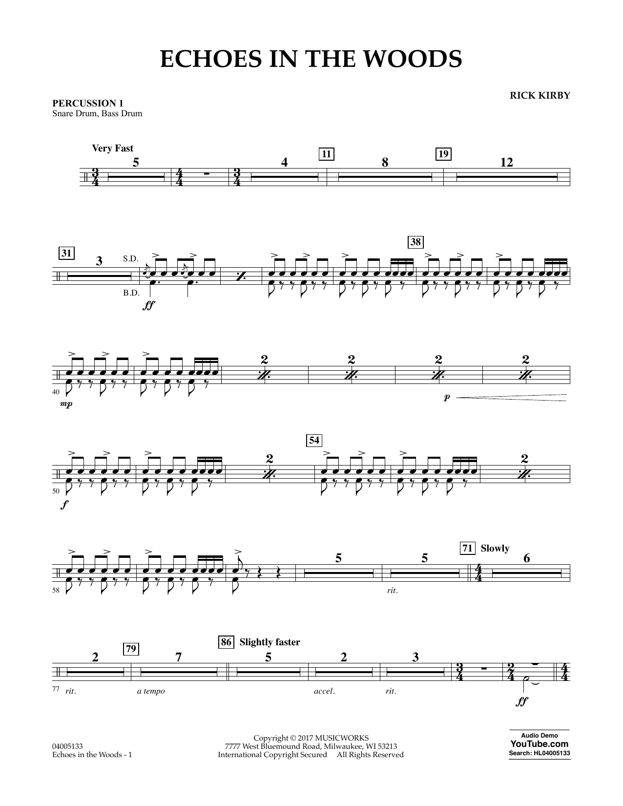 Echoes in the Woods - Percussion 1 Sheet Music