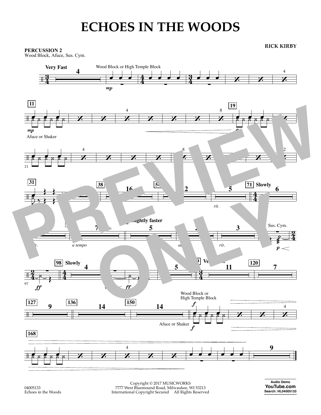 Echoes in the Woods - Percussion 2 Sheet Music