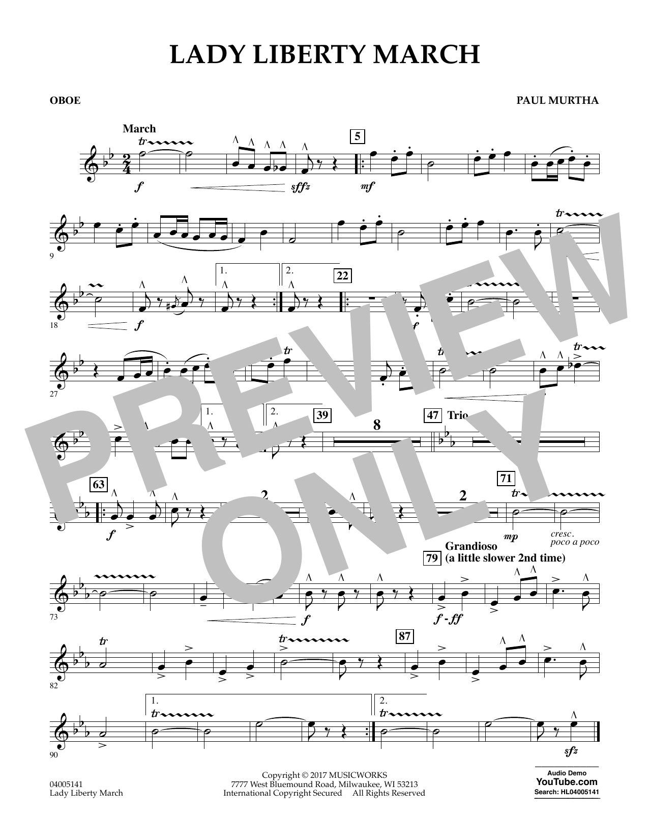 Lady Liberty March - Oboe Sheet Music