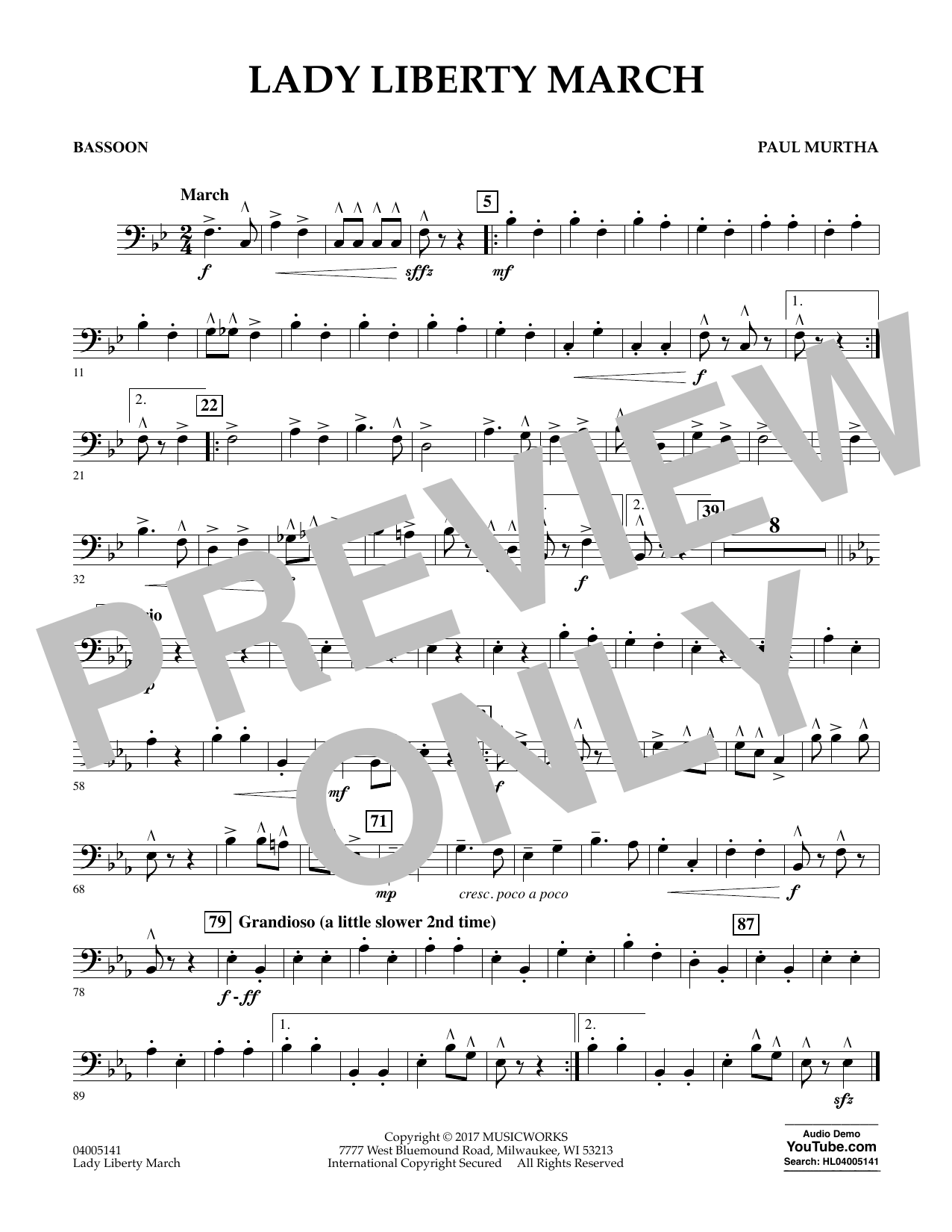 Lady Liberty March - Bassoon Sheet Music
