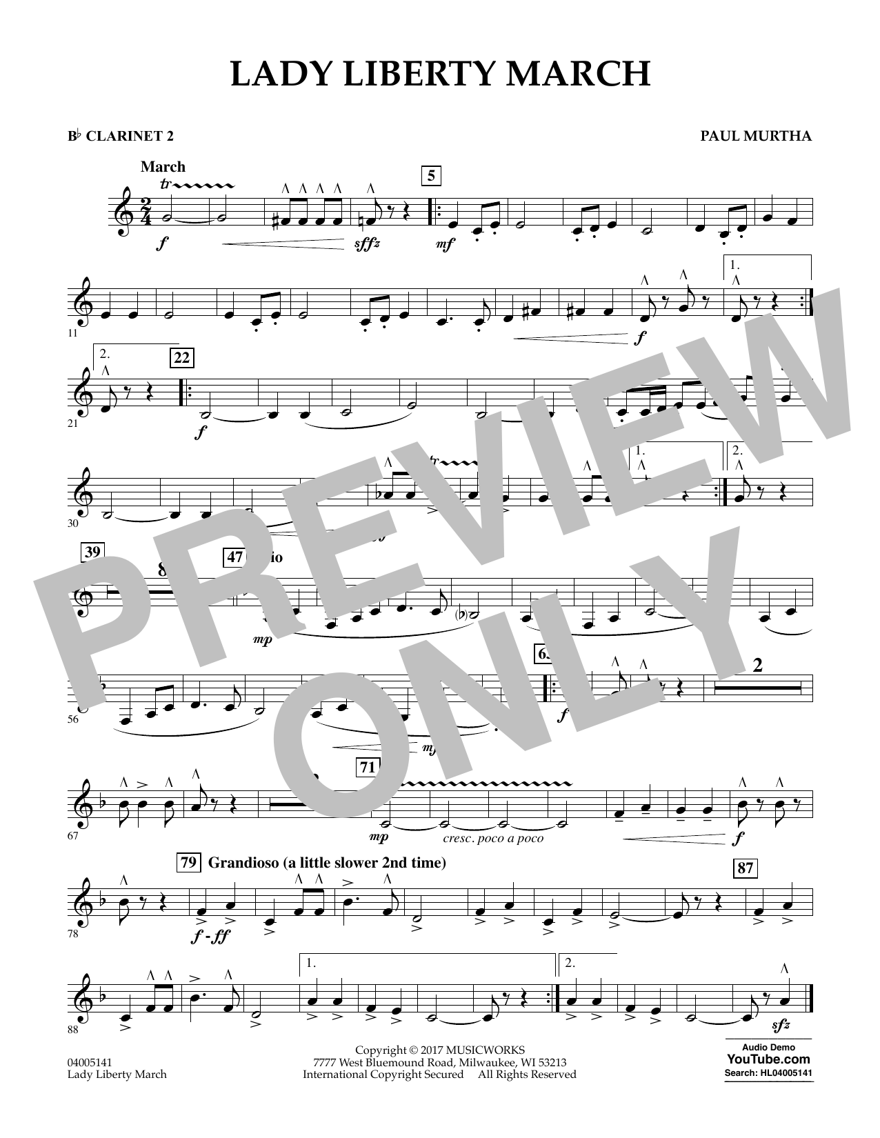 Lady Liberty March - Bb Clarinet 2 Sheet Music