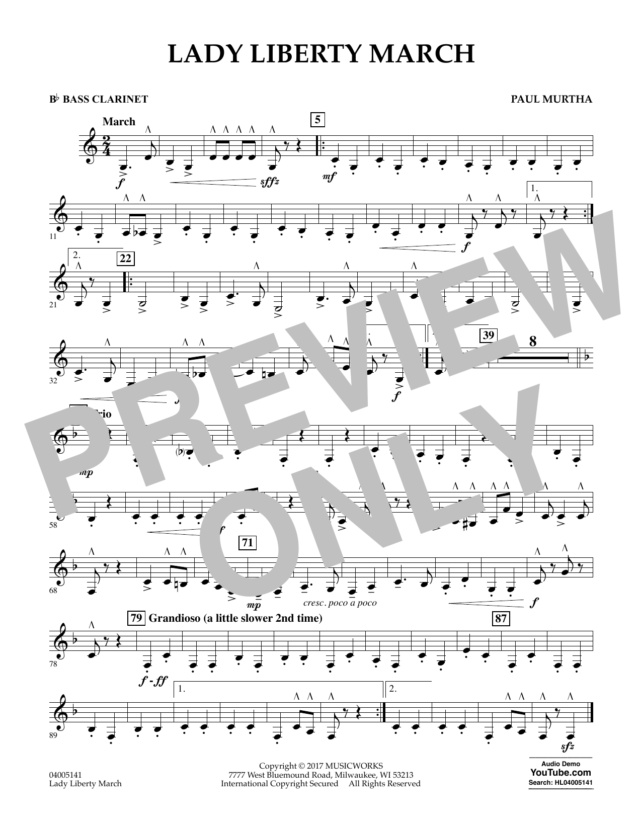 Lady Liberty March - Bb Bass Clarinet (Concert Band)