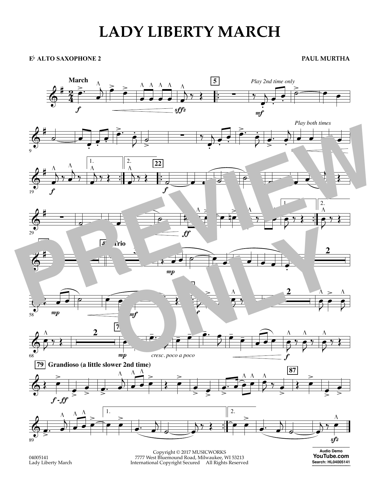 Lady Liberty March - Eb Alto Saxophone 2 Sheet Music