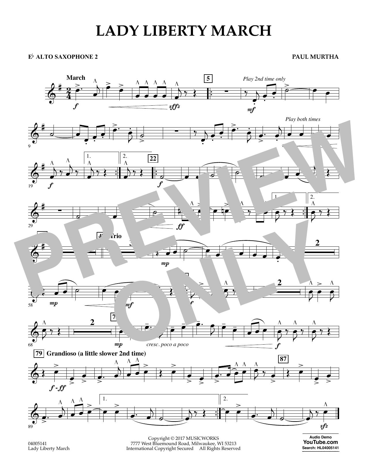 Lady Liberty March - Eb Alto Saxophone 2 (Concert Band)