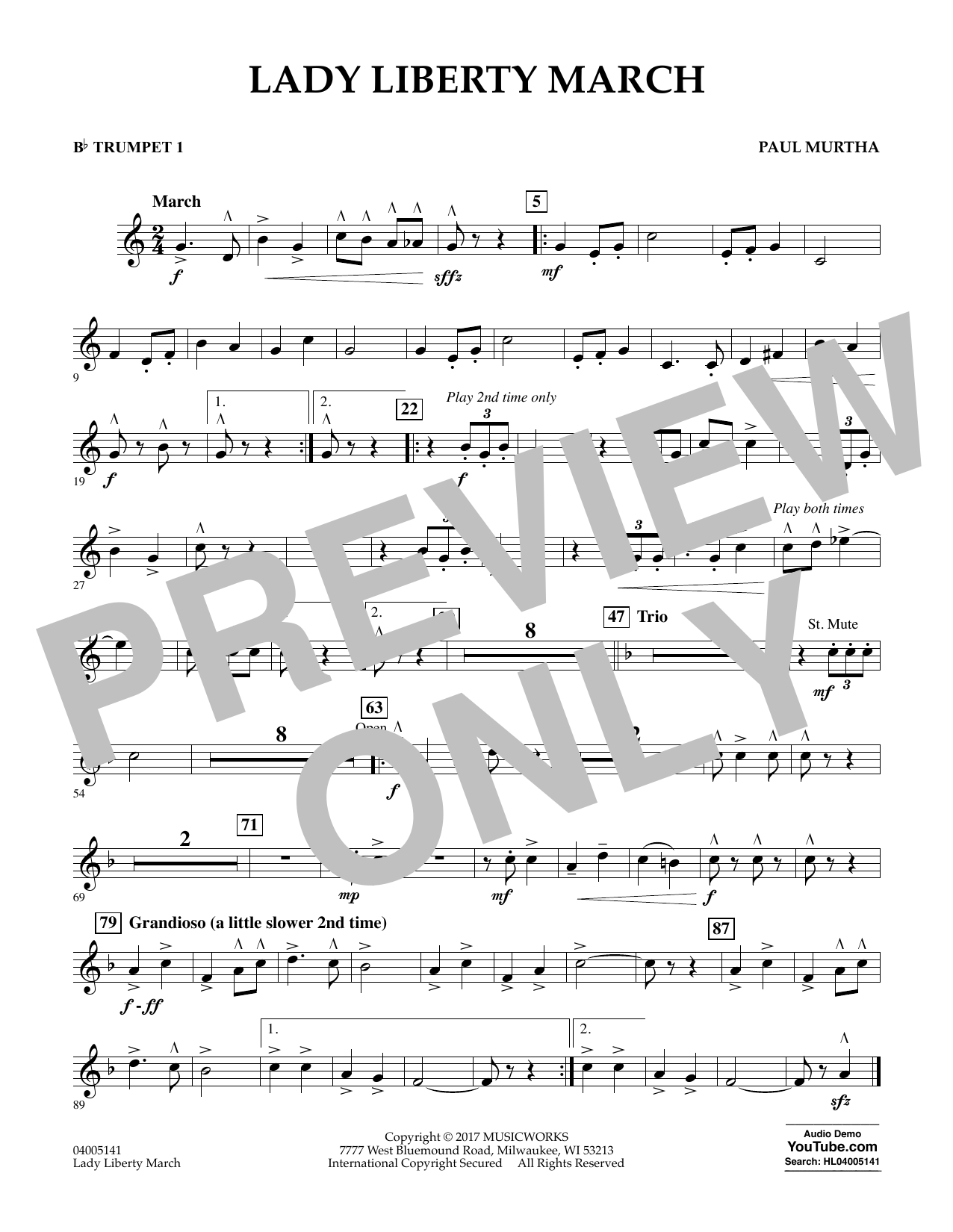 Lady Liberty March - Bb Trumpet 1 Sheet Music