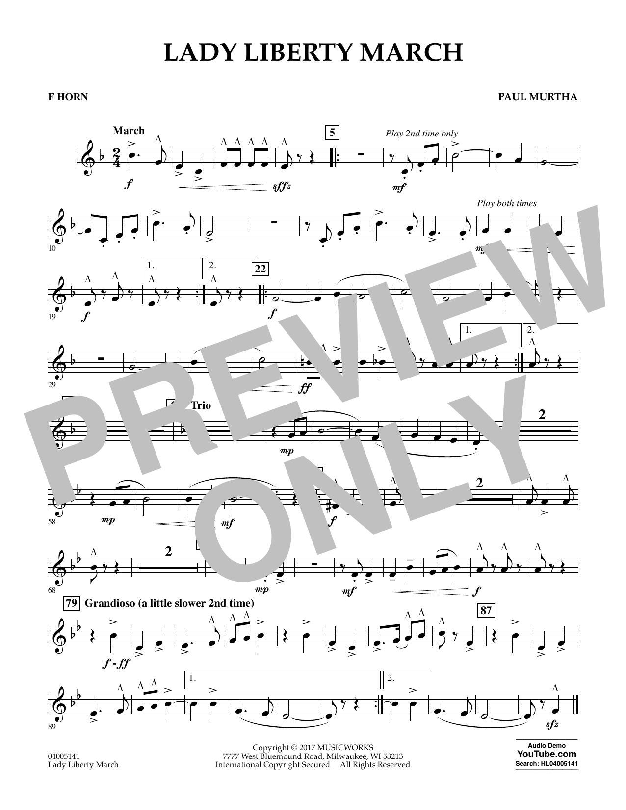 Lady Liberty March - F Horn Sheet Music
