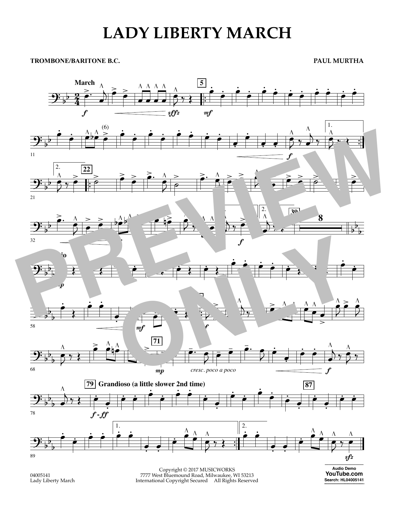 Lady Liberty March - Trombone/Baritone B.C. Sheet Music