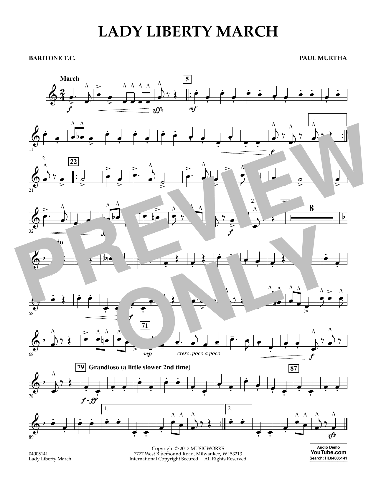 Lady Liberty March - Baritone T.C. Sheet Music