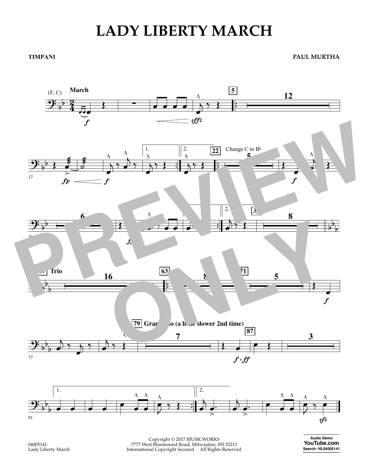 Lady Liberty March - Timpani Sheet Music