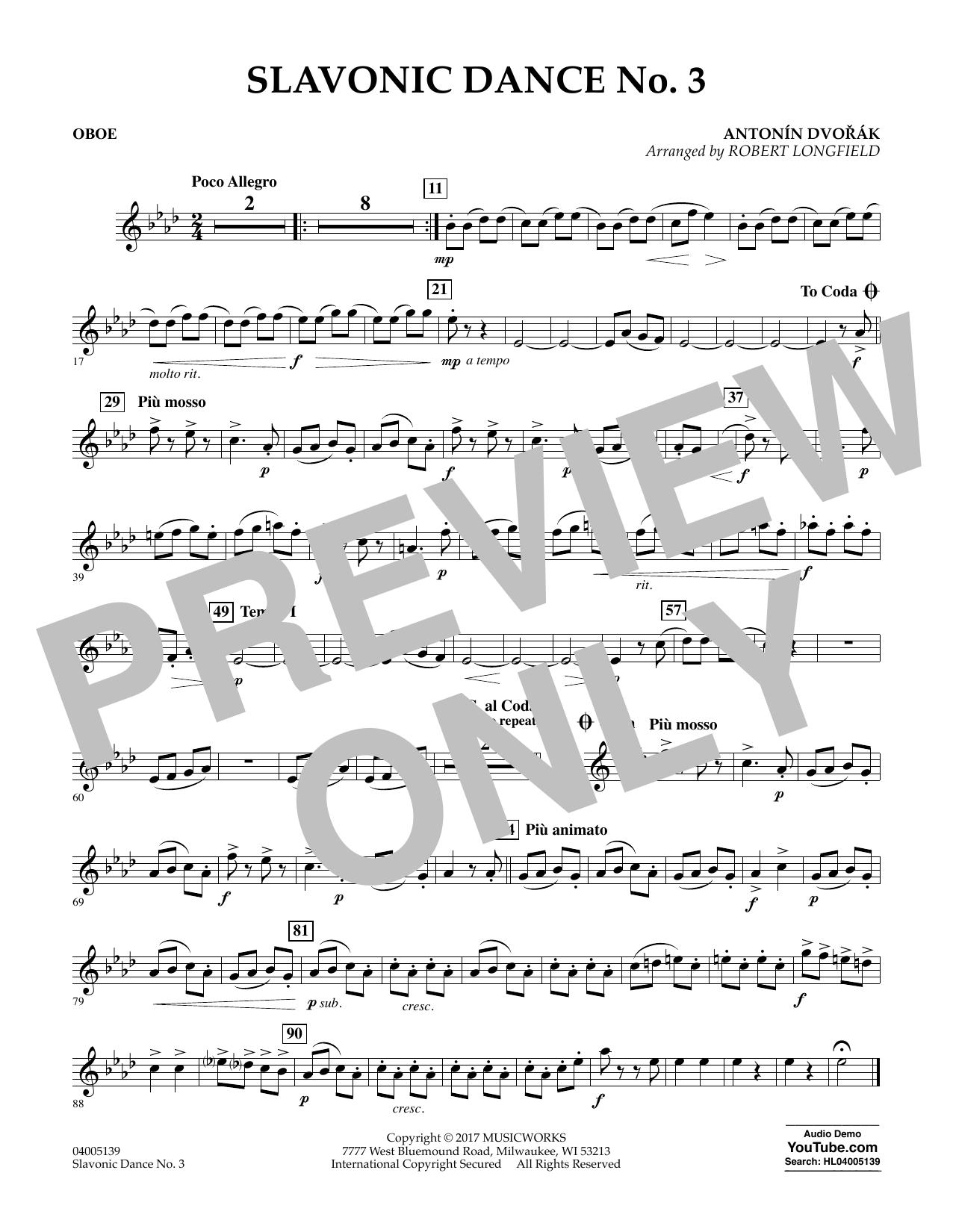 Slavonic Dance No. 3 - Oboe Sheet Music