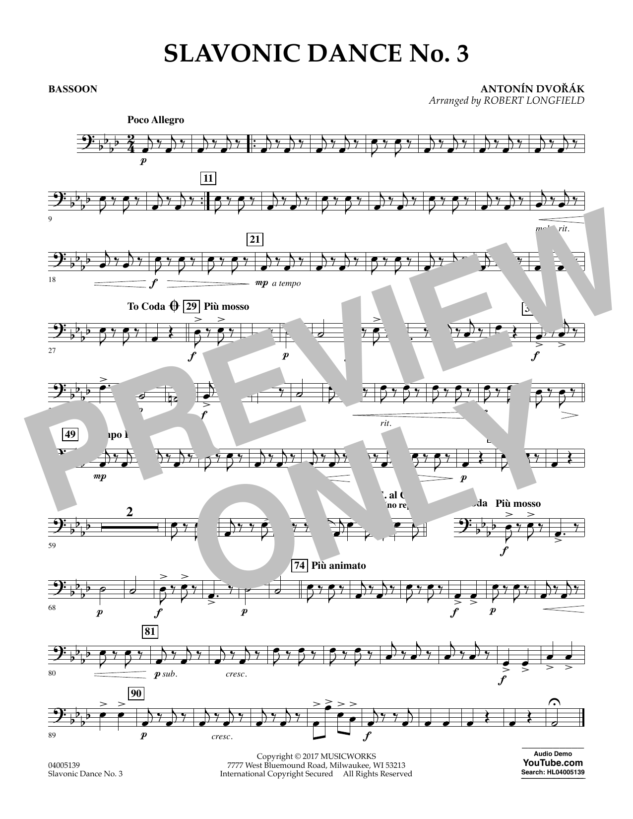 Slavonic Dance No. 3 - Bassoon Sheet Music