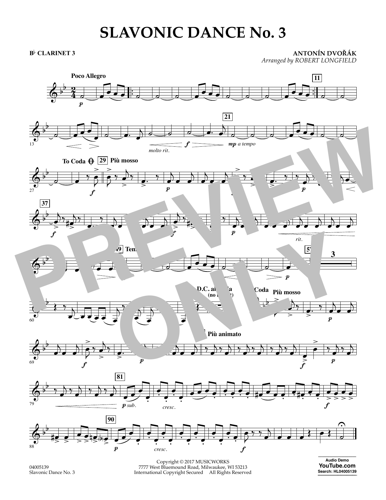 Slavonic Dance No. 3 - Bb Clarinet 3 Sheet Music