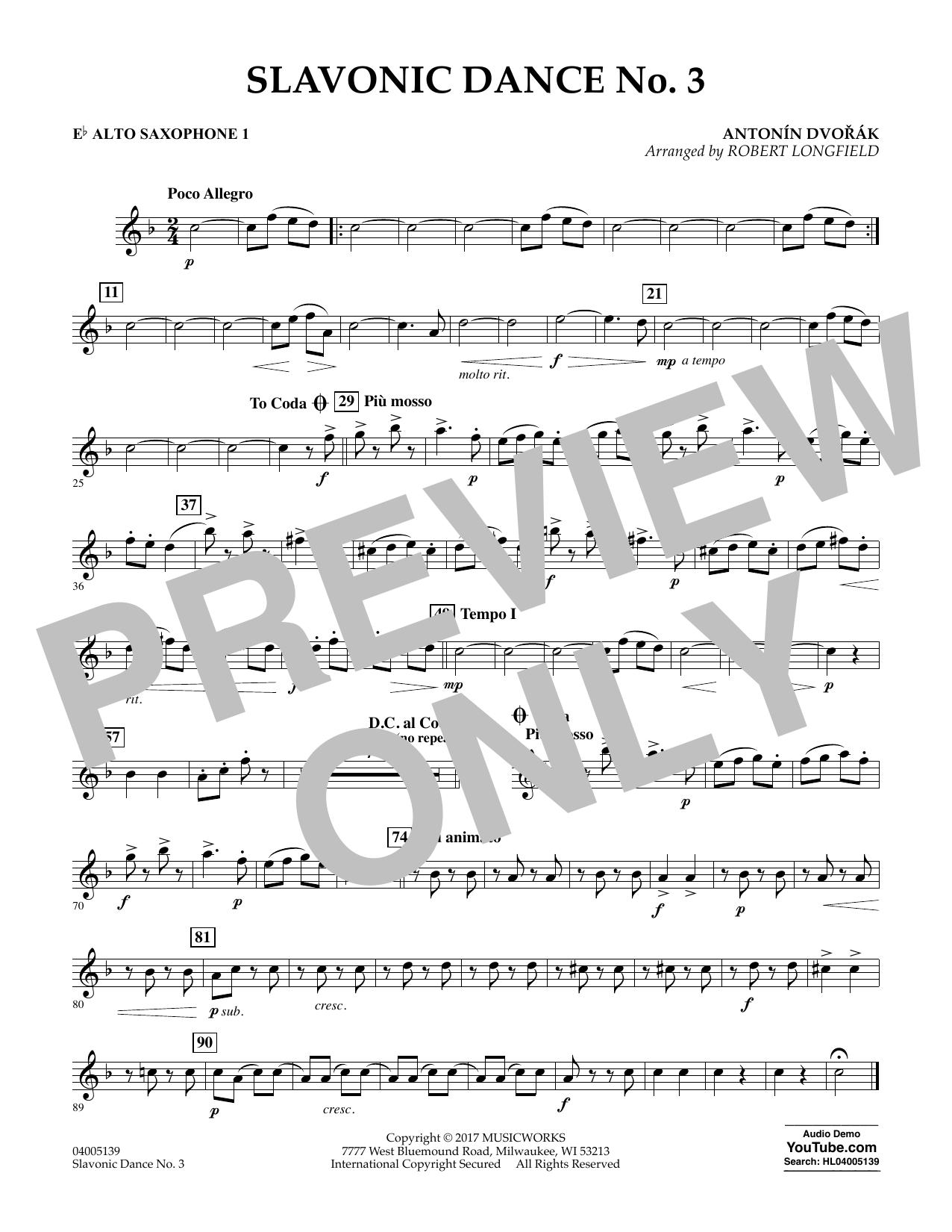 Slavonic Dance No. 3 - Eb Alto Saxophone 1 Sheet Music