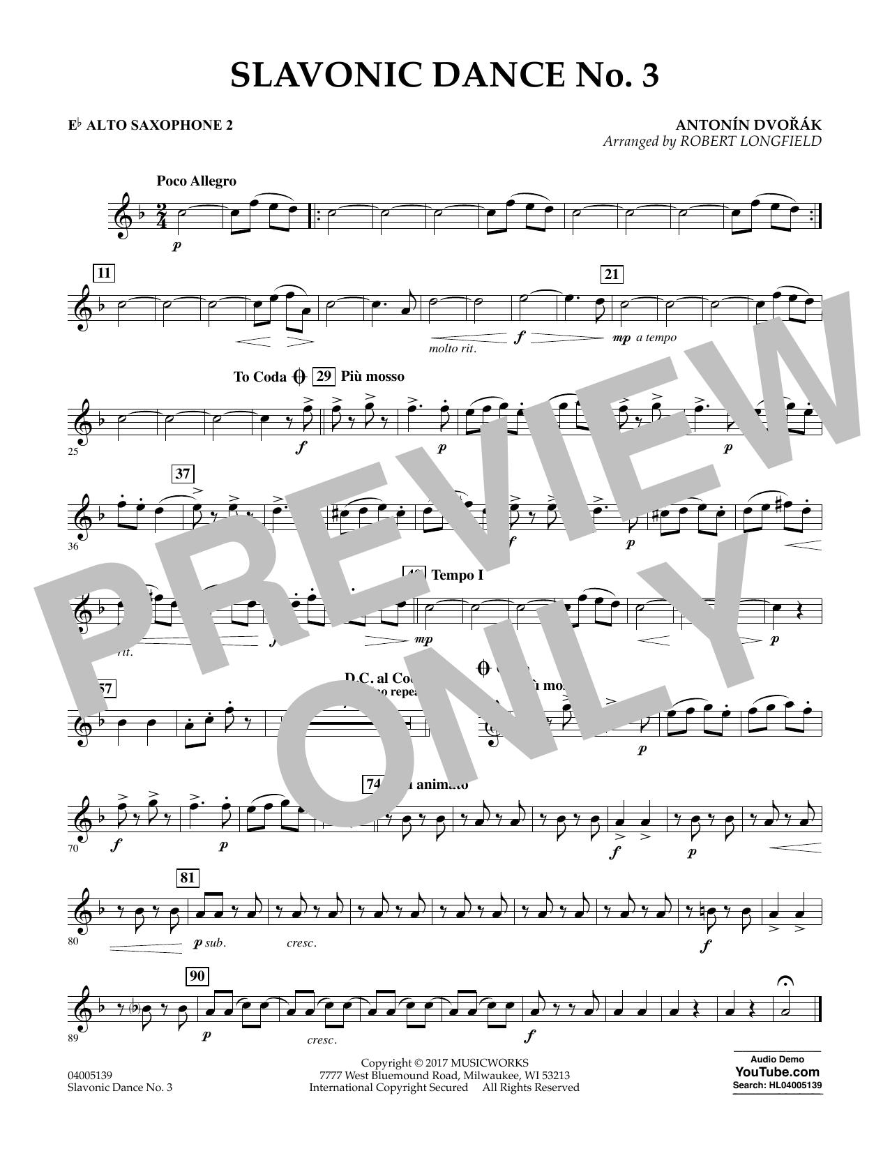 Slavonic Dance No. 3 - Eb Alto Saxophone 2 Sheet Music