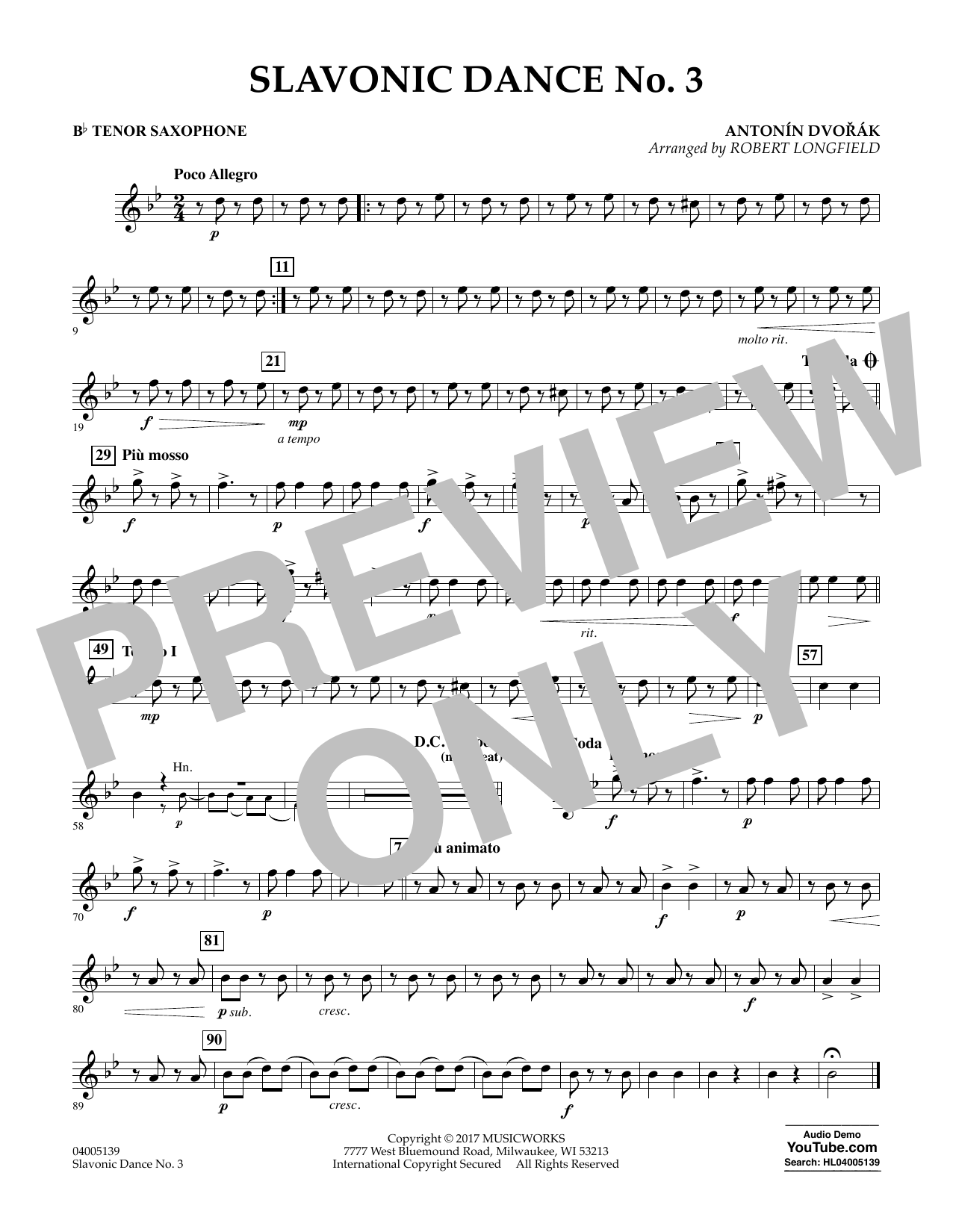 Slavonic Dance No. 3 - Bb Tenor Saxophone Sheet Music