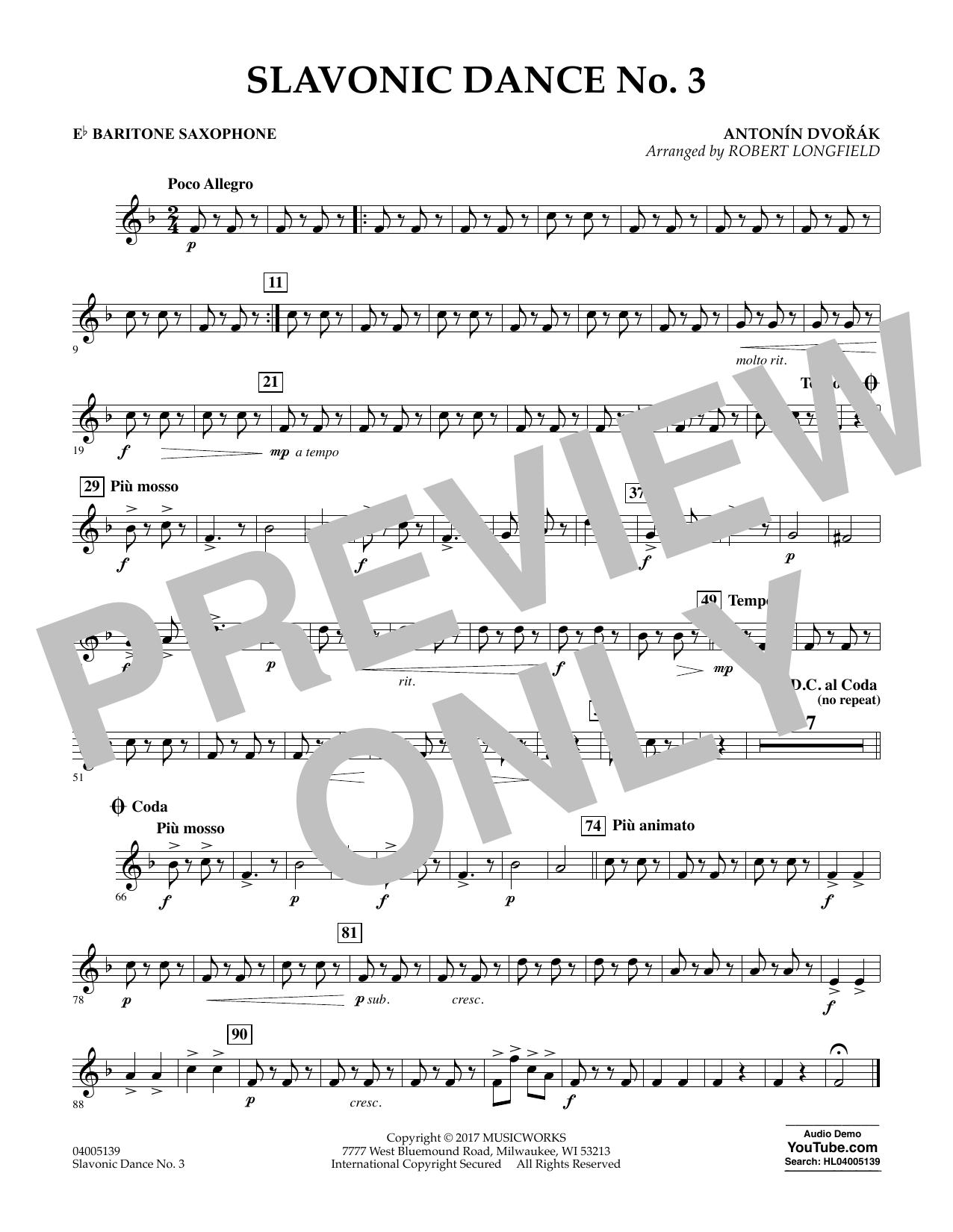 Slavonic Dance No. 3 - Eb Baritone Saxophone Sheet Music