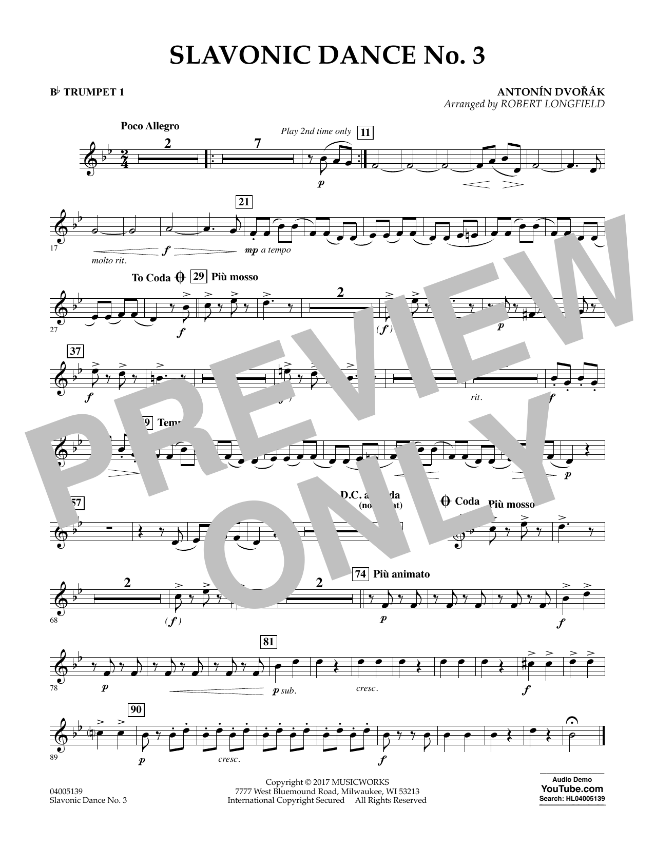 Slavonic Dance No. 3 - Bb Trumpet 1 Digitale Noten
