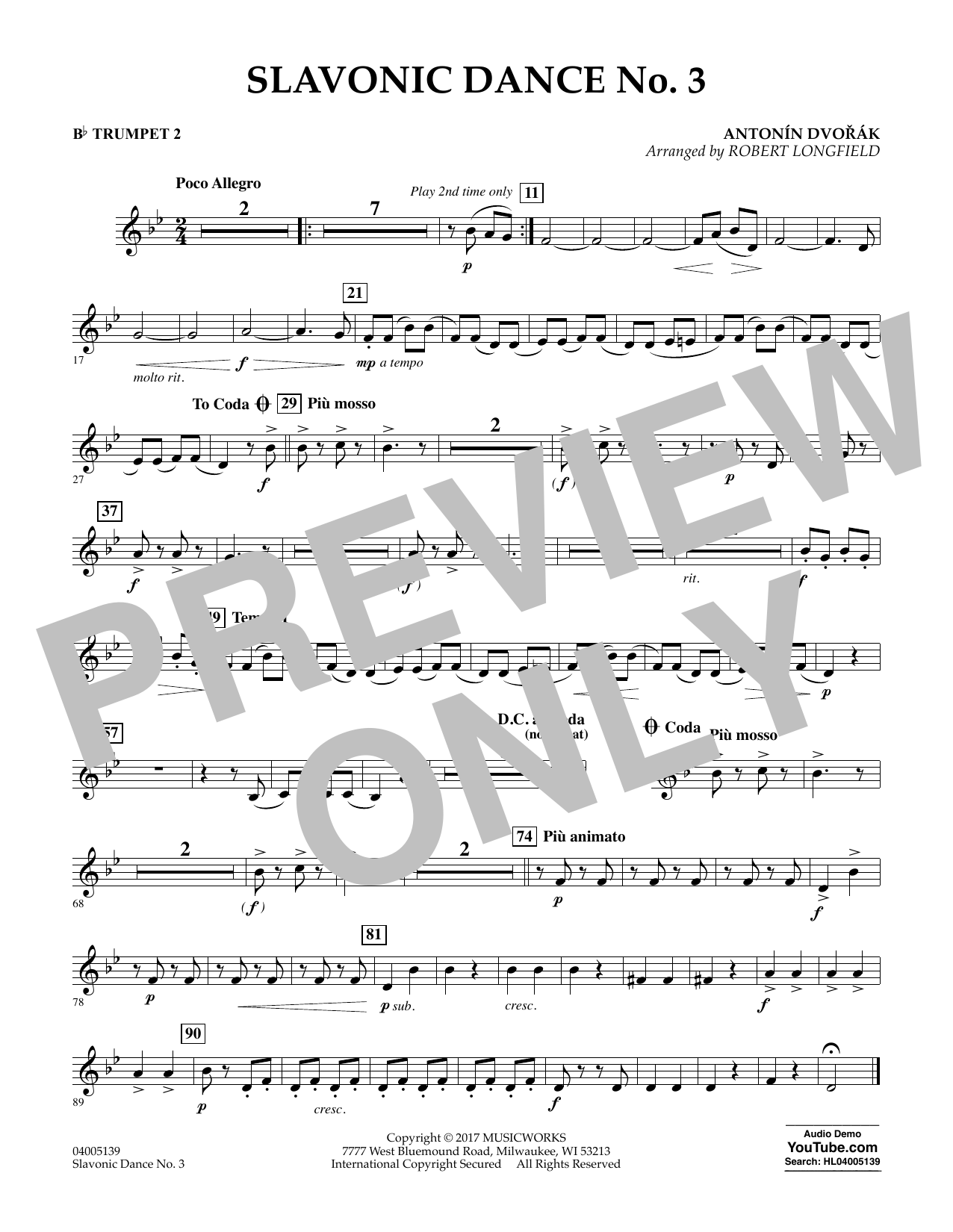 Slavonic Dance No. 3 - Bb Trumpet 2 Sheet Music