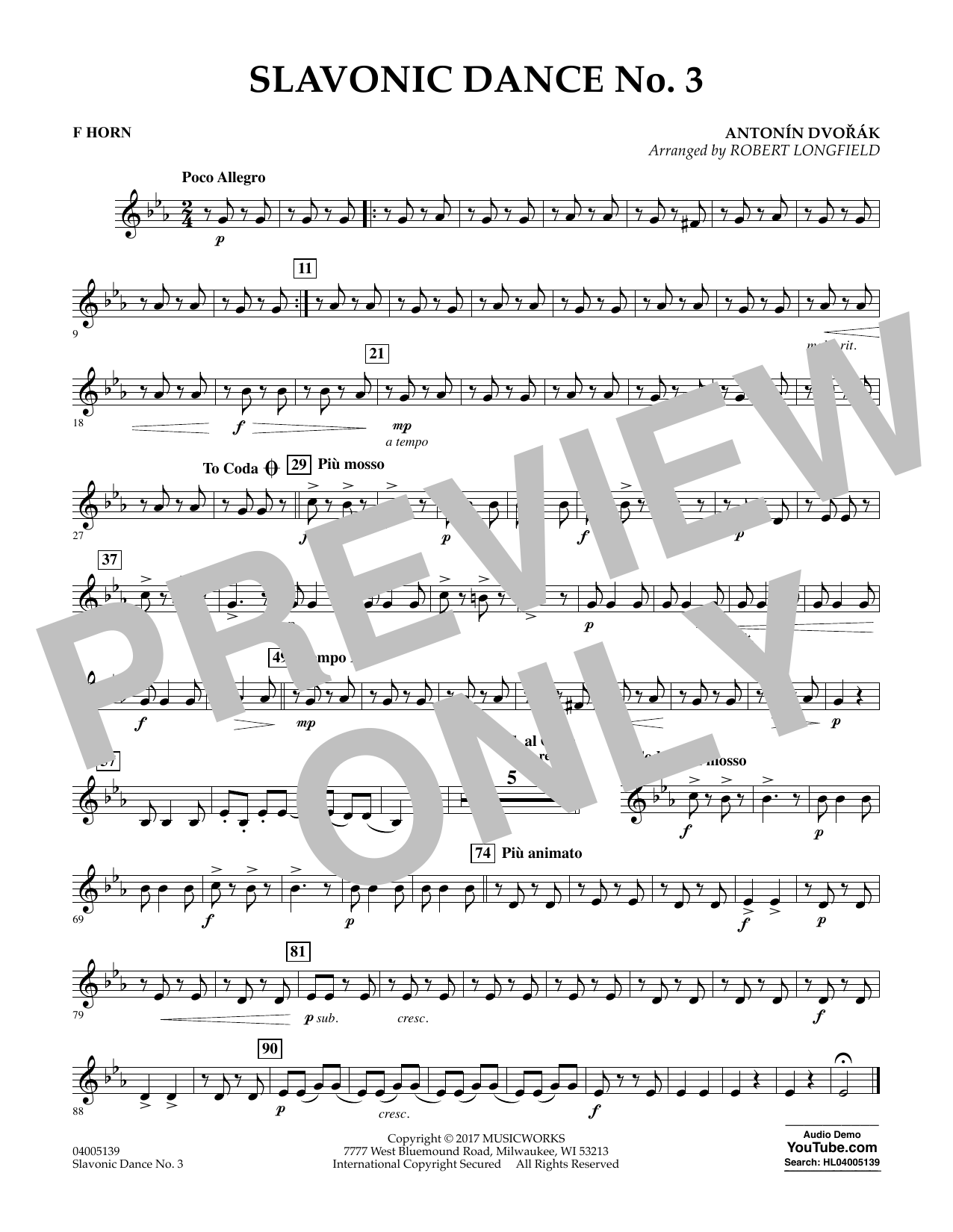 Slavonic Dance No. 3 - F Horn Sheet Music