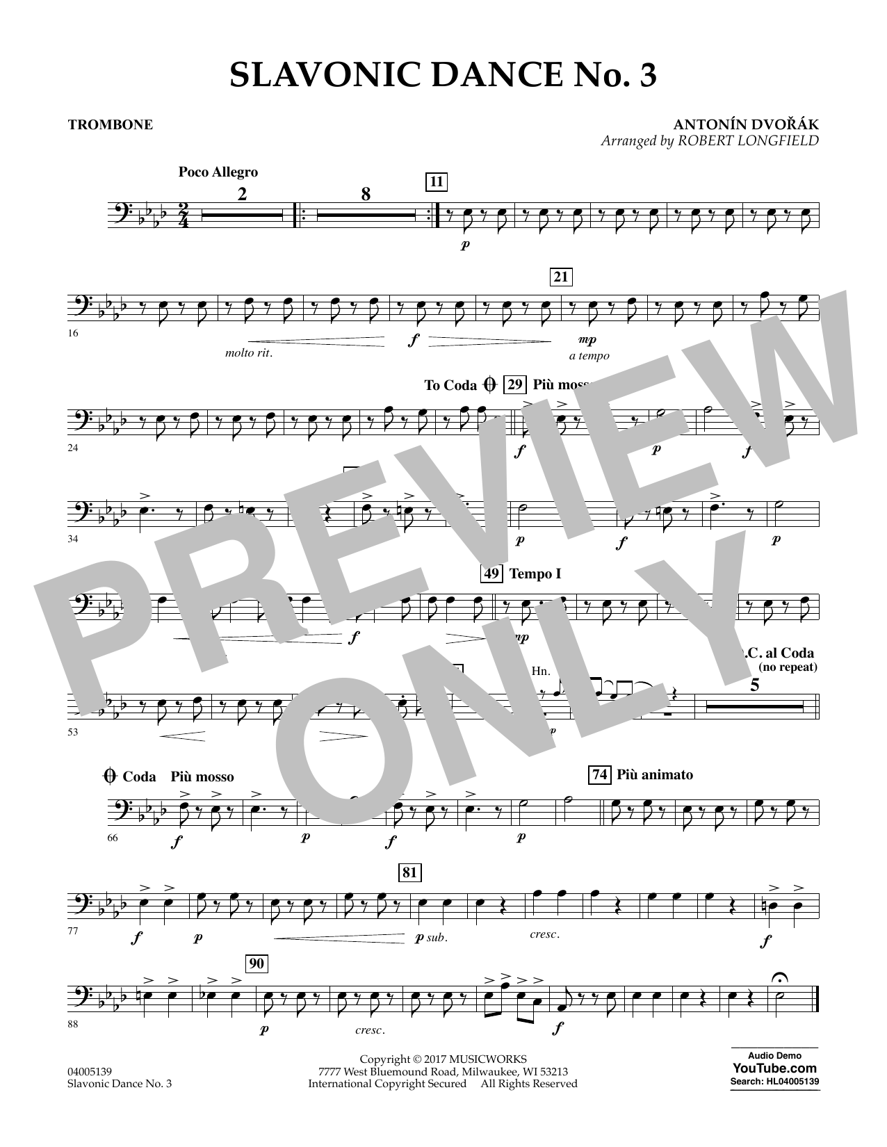 Slavonic Dance No. 3 - Trombone Sheet Music