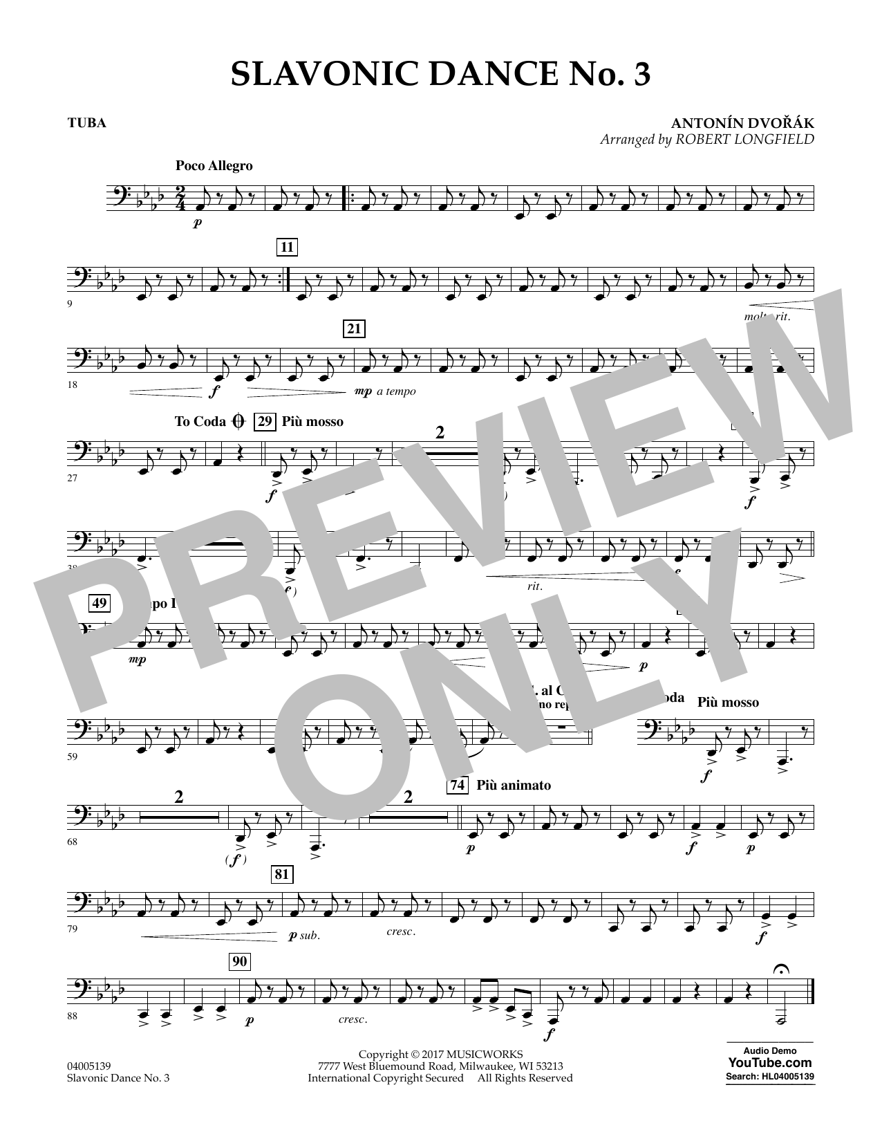 Slavonic Dance No. 3 - Tuba Sheet Music