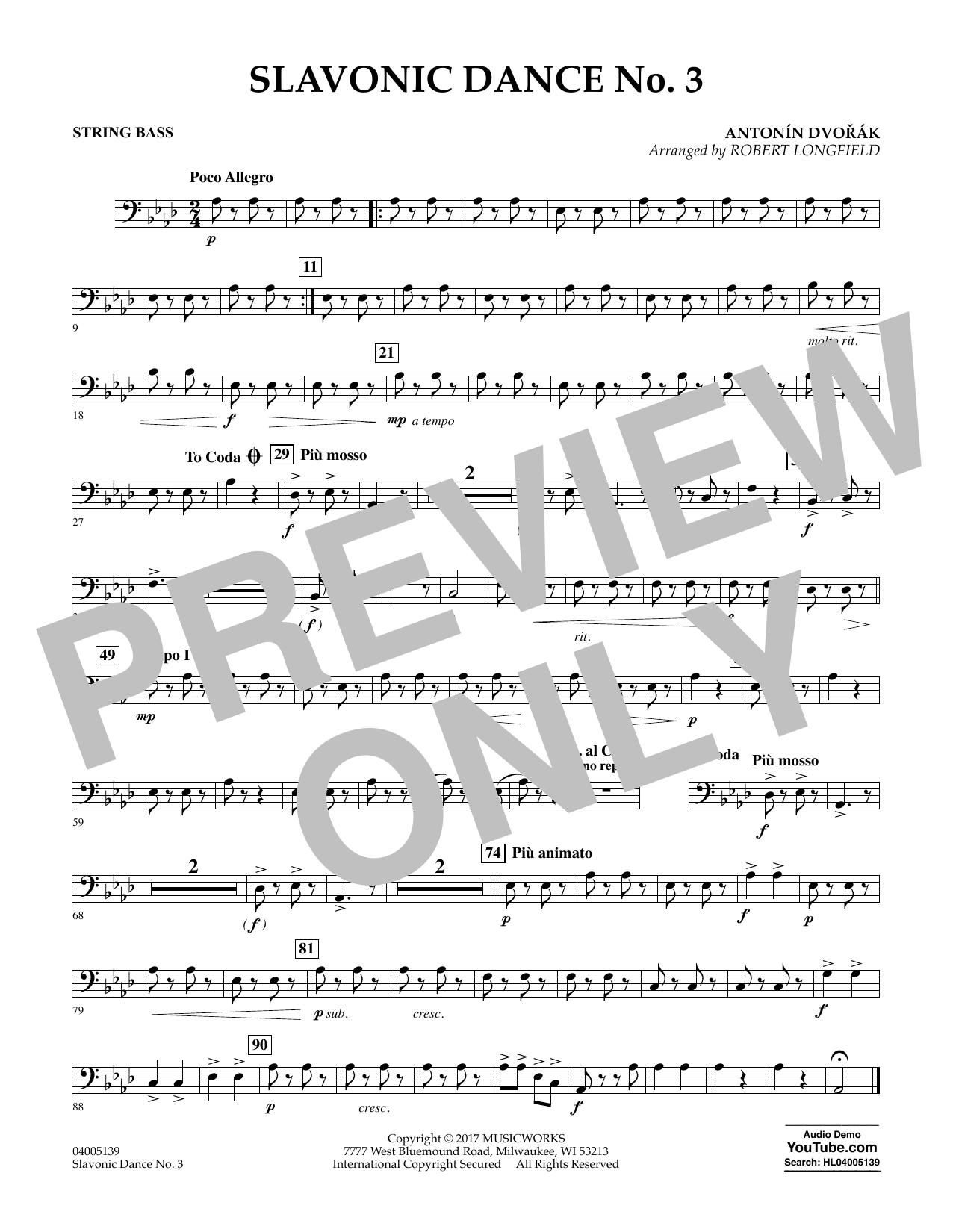 Slavonic Dance No. 3 - String Bass Sheet Music