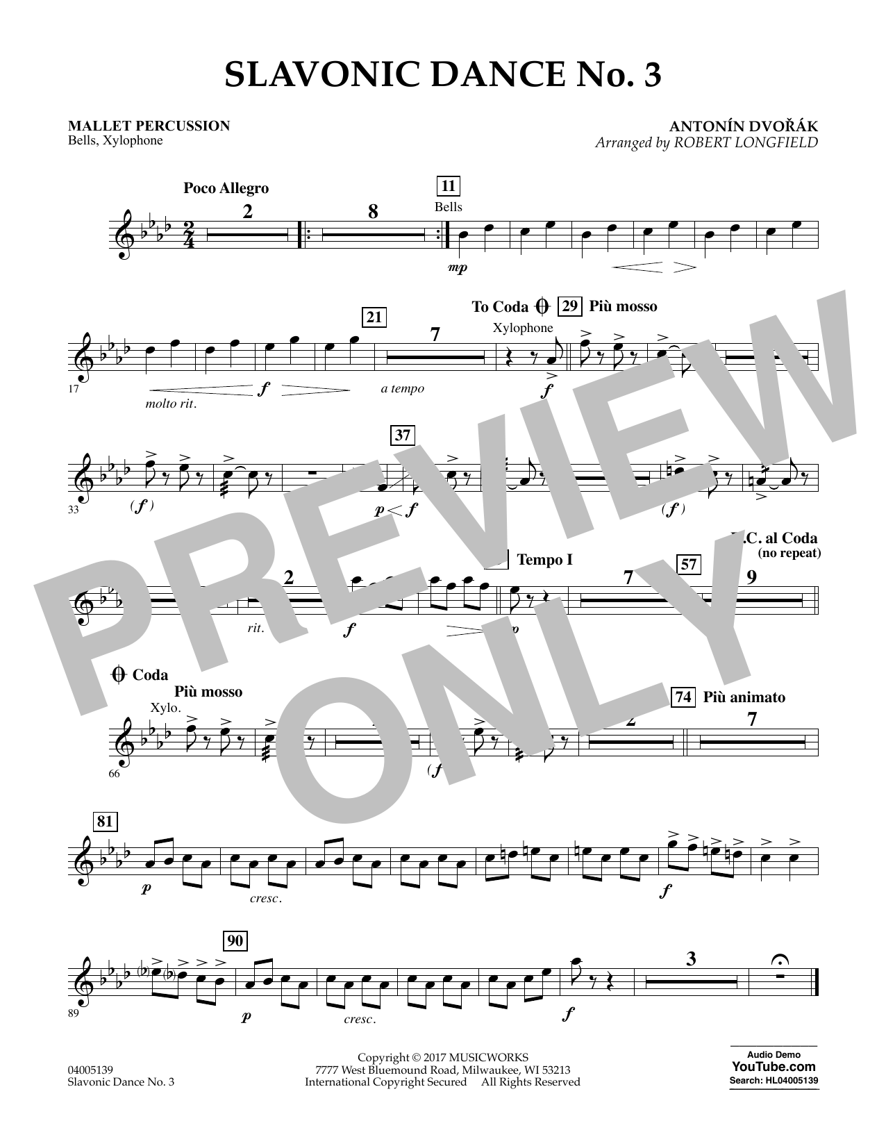 Slavonic Dance No. 3 - Mallet Percussion Sheet Music