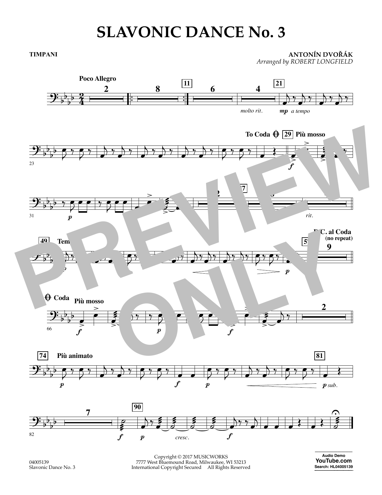 Slavonic Dance No. 3 - Timpani Sheet Music