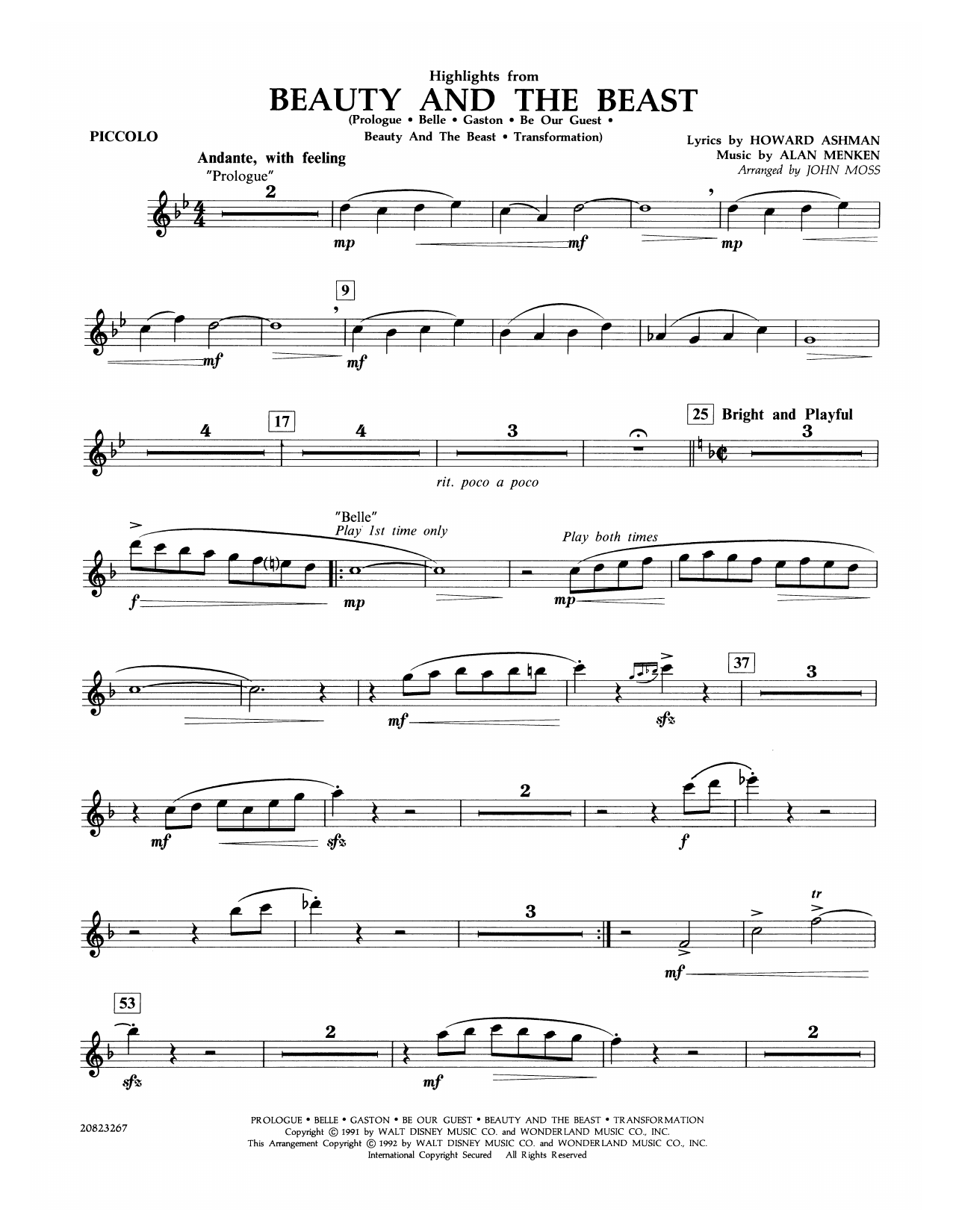 Highlights from Beauty and the Beast - Piccolo Sheet Music
