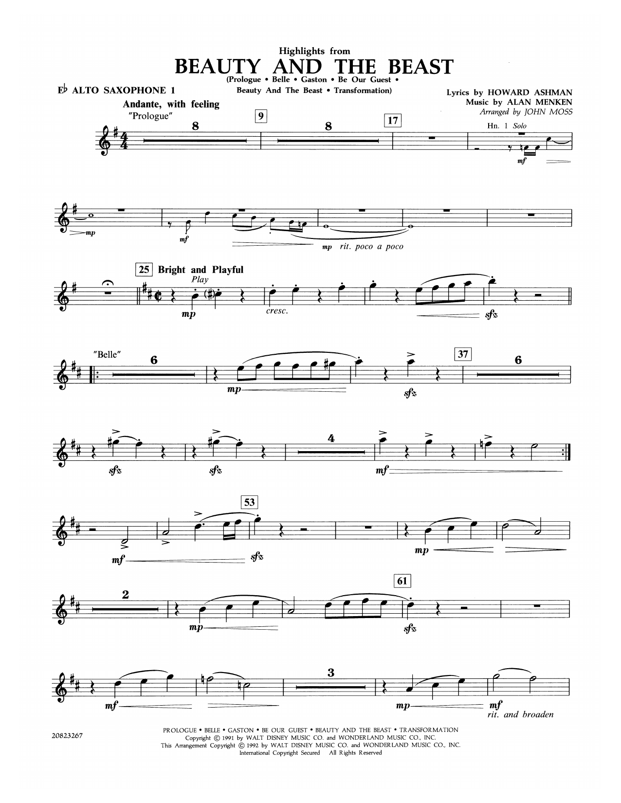 Highlights from Beauty and the Beast - Eb Alto Saxophone 1 Partition Digitale