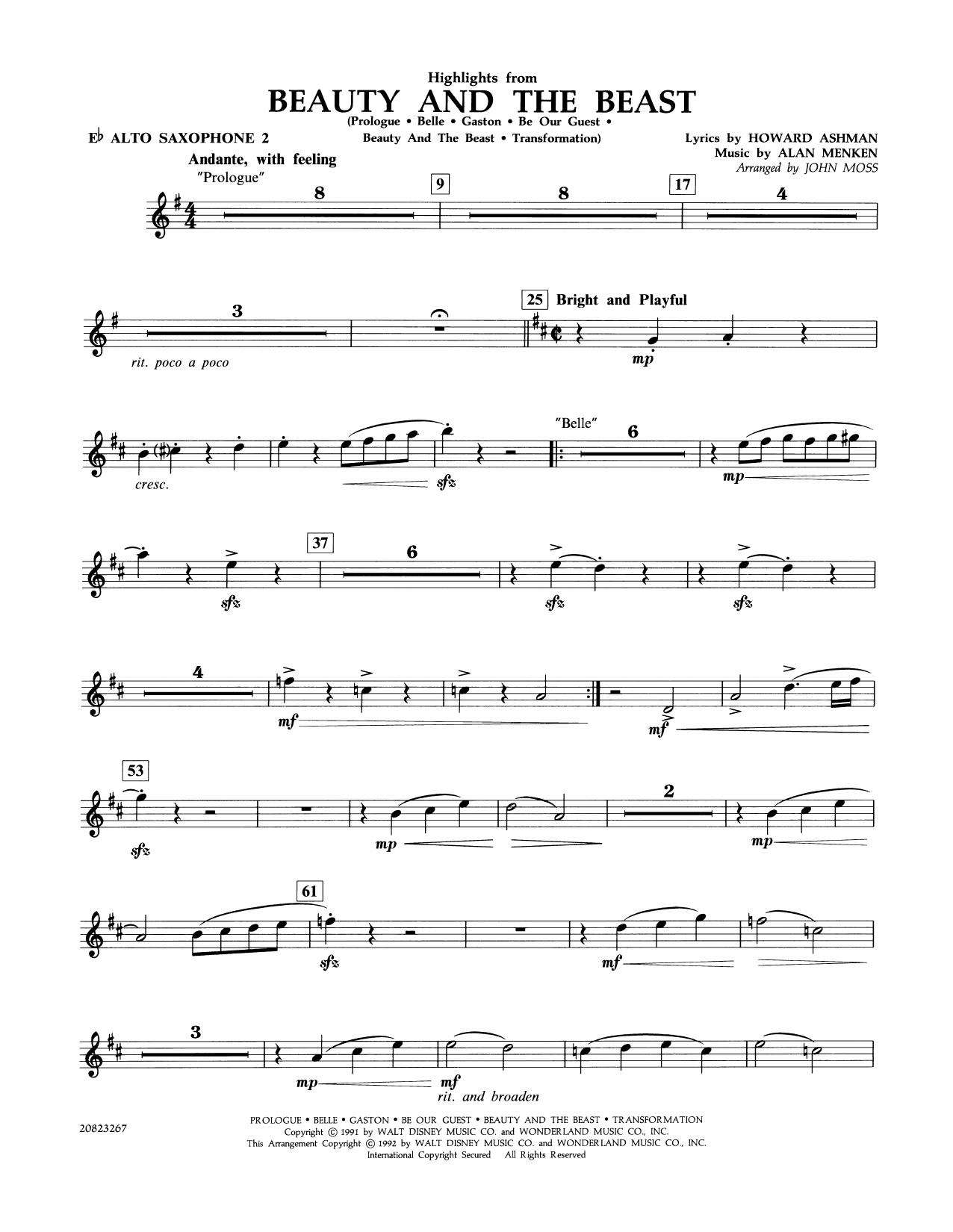 Highlights from Beauty and the Beast - Eb Alto Saxophone 2 (Concert Band)