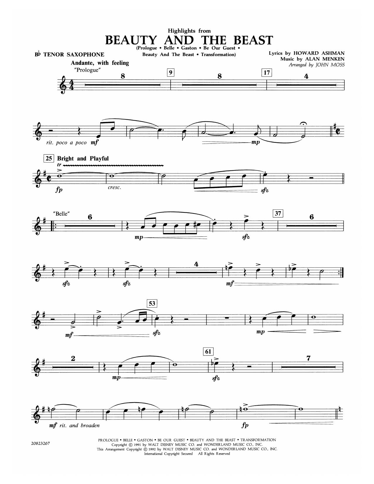 Highlights from Beauty and the Beast - Bb Tenor Saxophone Sheet Music