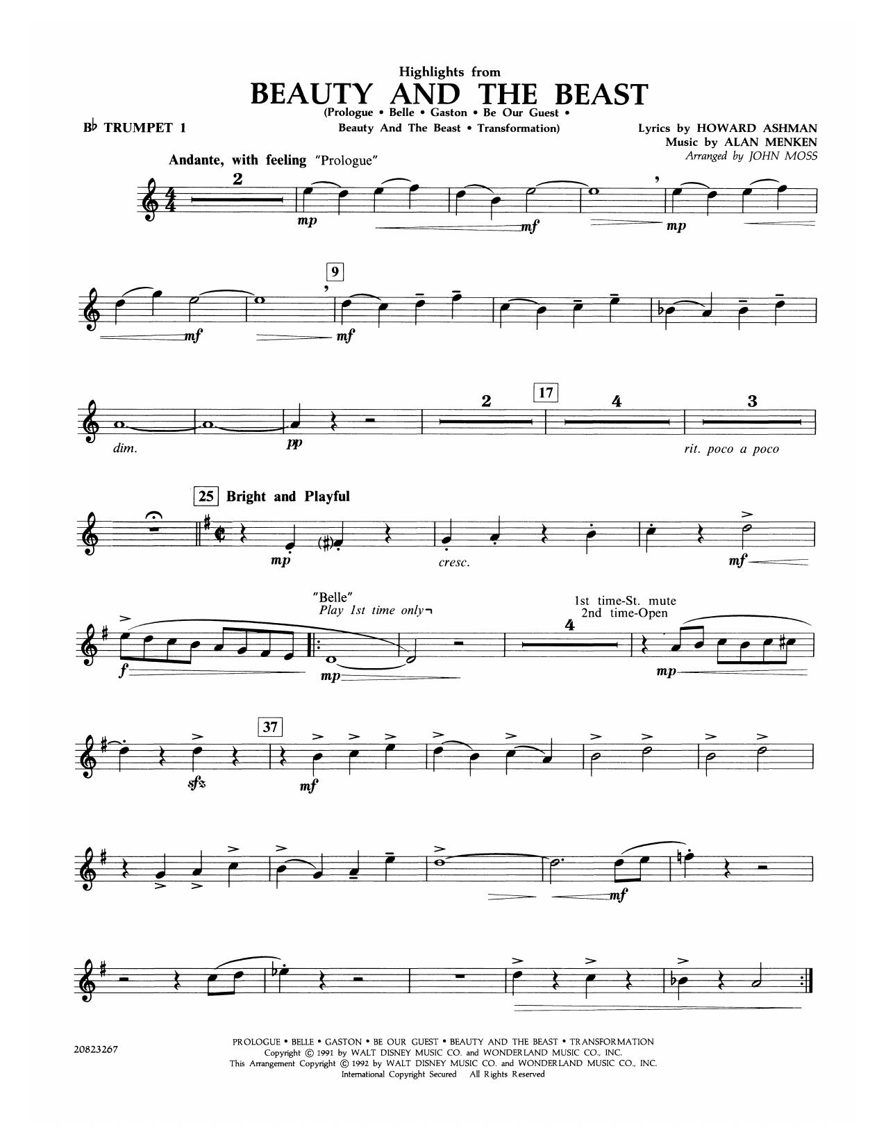 Highlights from Beauty and the Beast - Bb Trumpet 1 Sheet Music