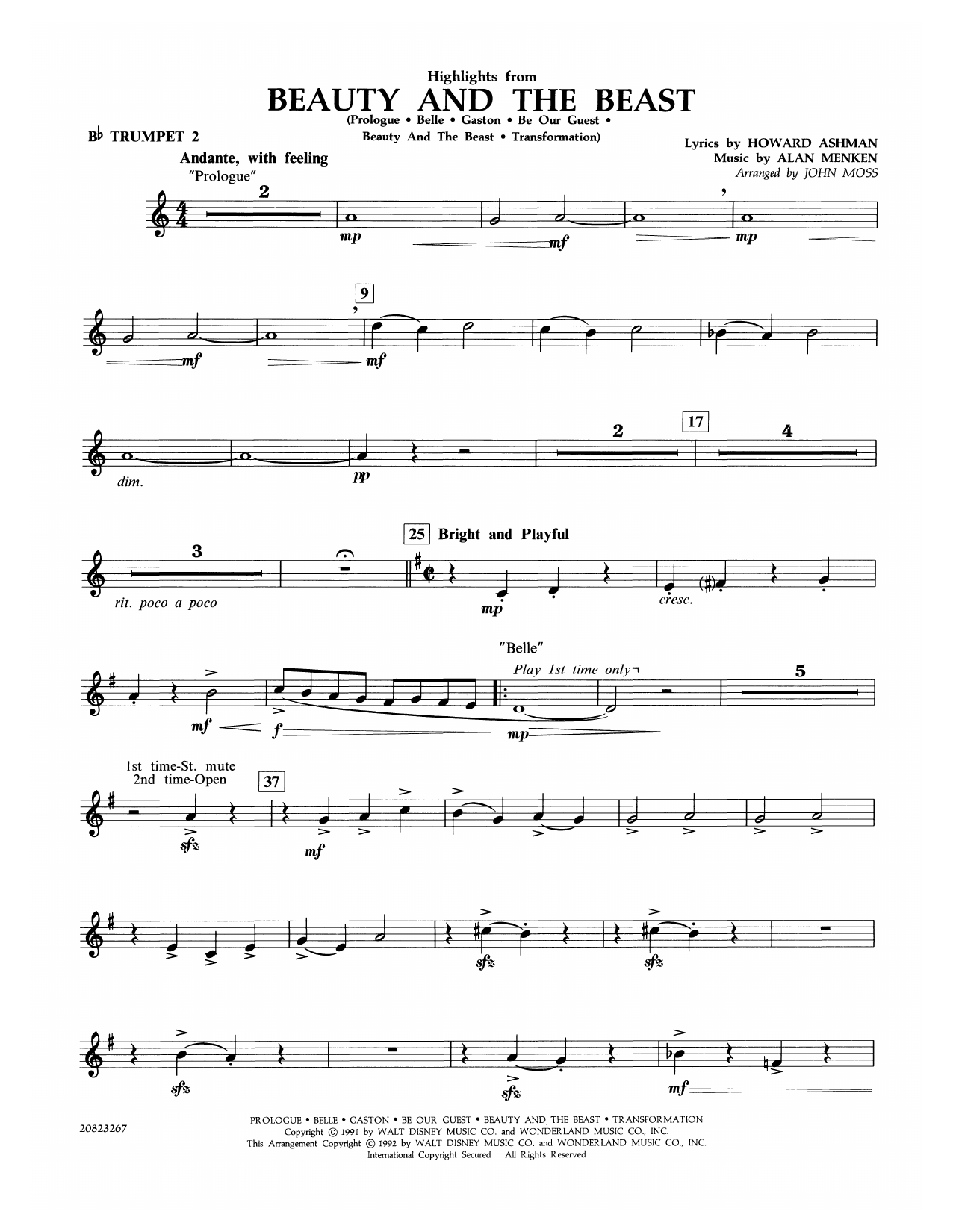 Highlights from Beauty and the Beast - Bb Trumpet 2 Sheet Music