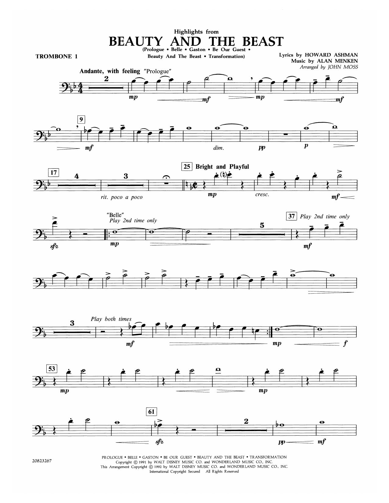 Highlights from Beauty and the Beast - Trombone 1 Sheet Music